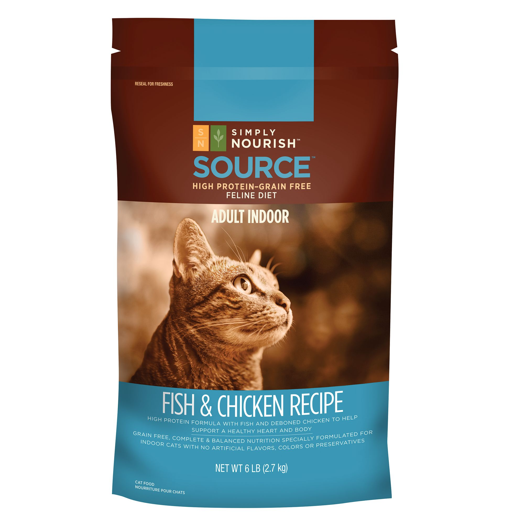 Simply Nourish, Source Indoor Adult Cat Food - Natural, Grain Free, Fish and Chicken size: 6 Lb 5200820