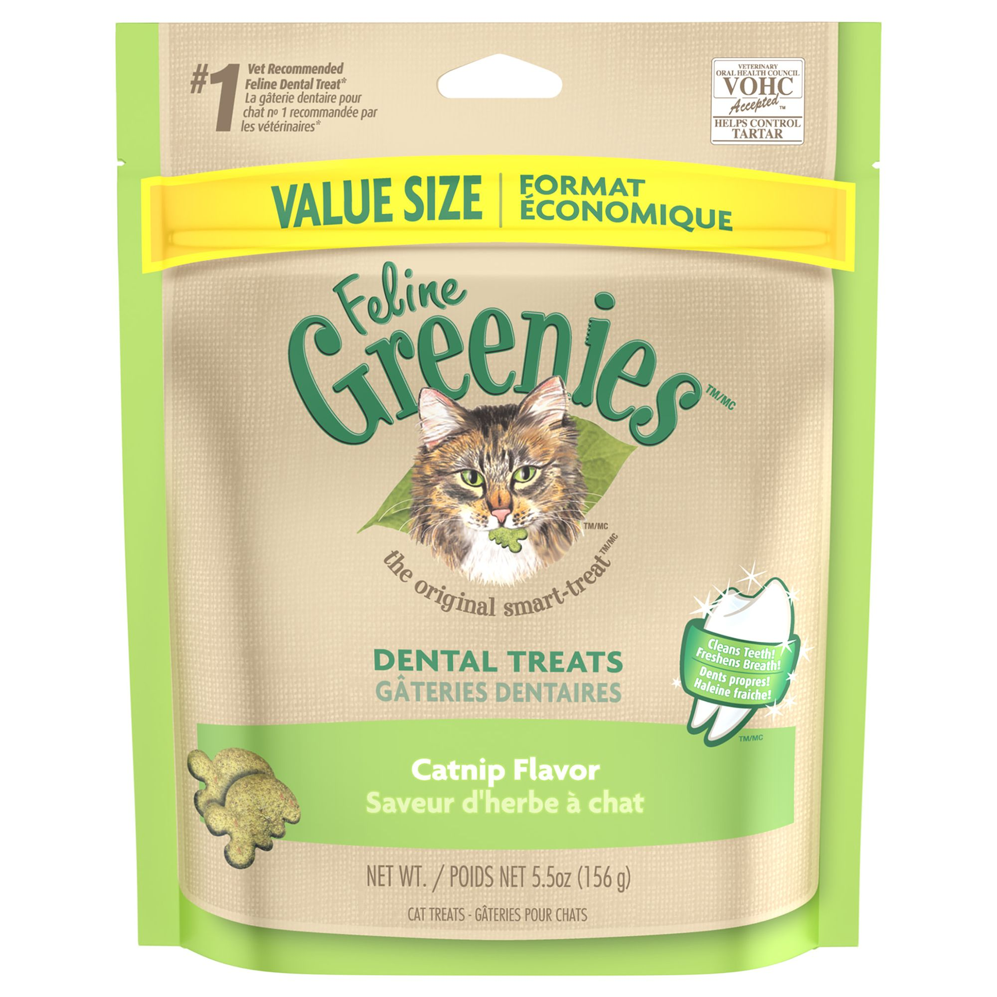 Feline Greenies Dental Cat Treat Catnip Size 5.5 Oz