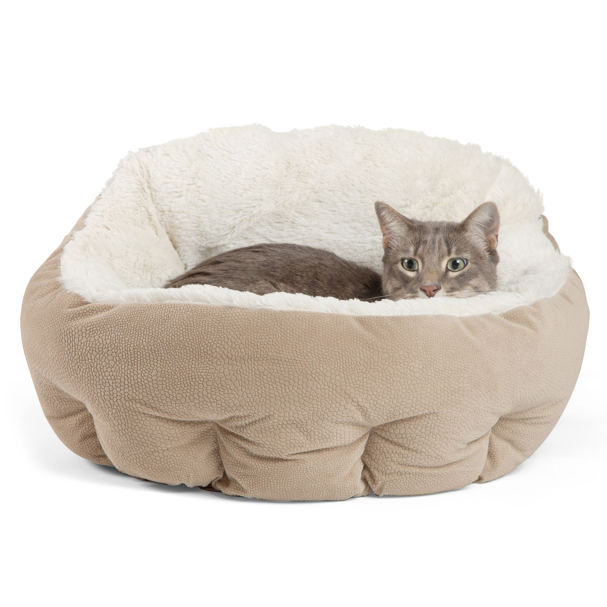 Best Friends By Sheri Deep Dish Cuddler Illan Pet Bed Size 17l X 19w X 11h Wheat