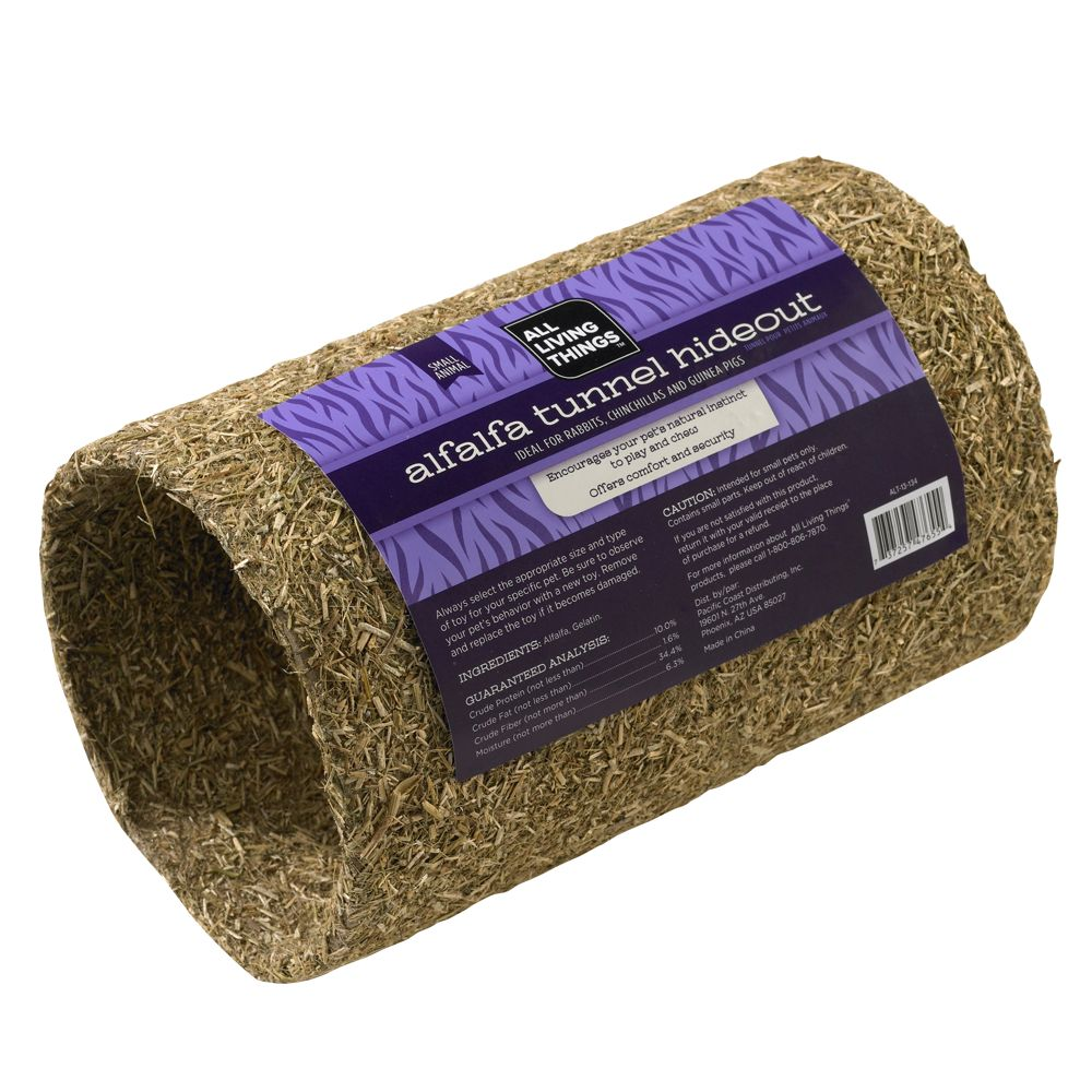 All Living Things Alfalfa Covered Tunnel Hideout Small Animal Furniture Size Small Natural