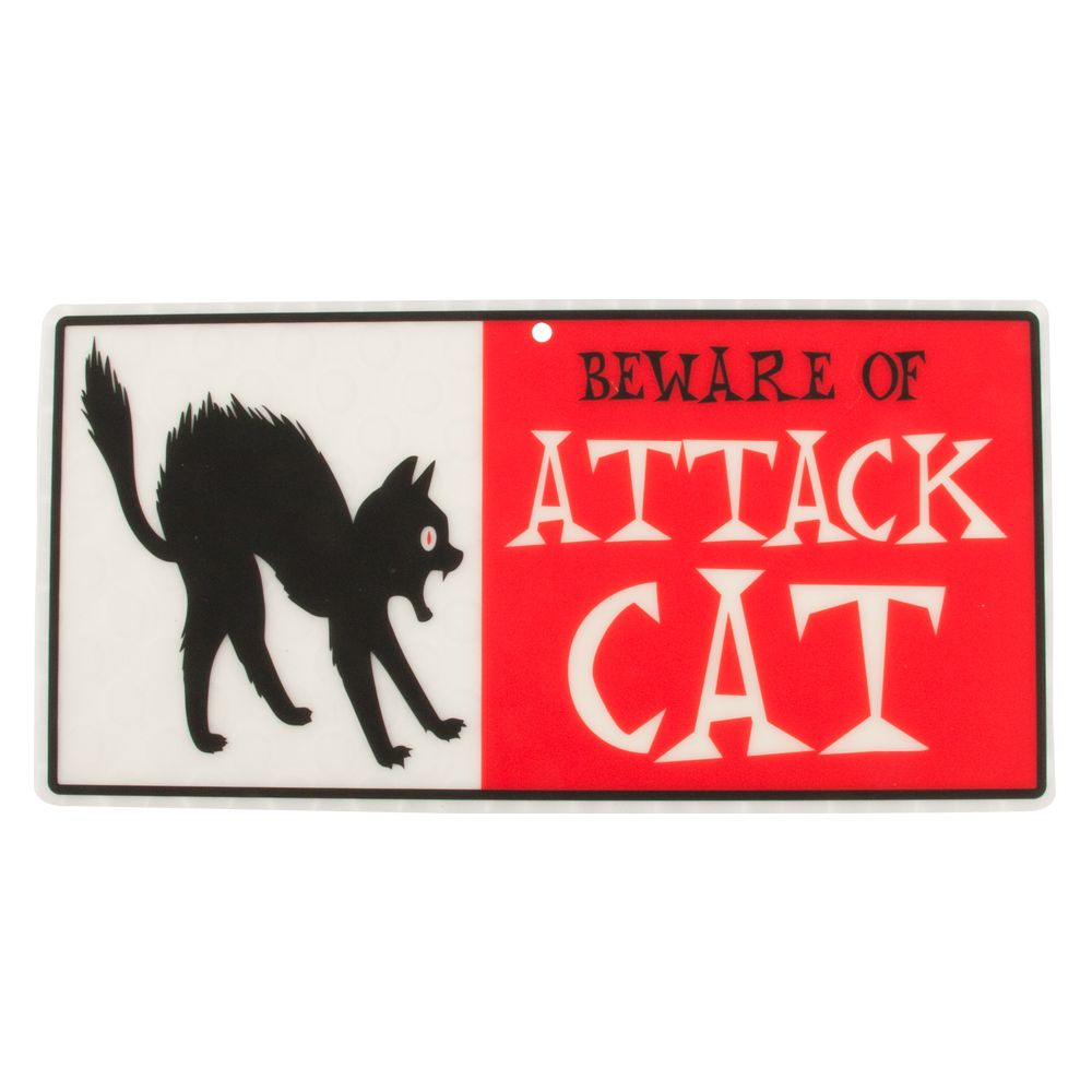 Hillman Beware Of Attack Cat Sign Red Black