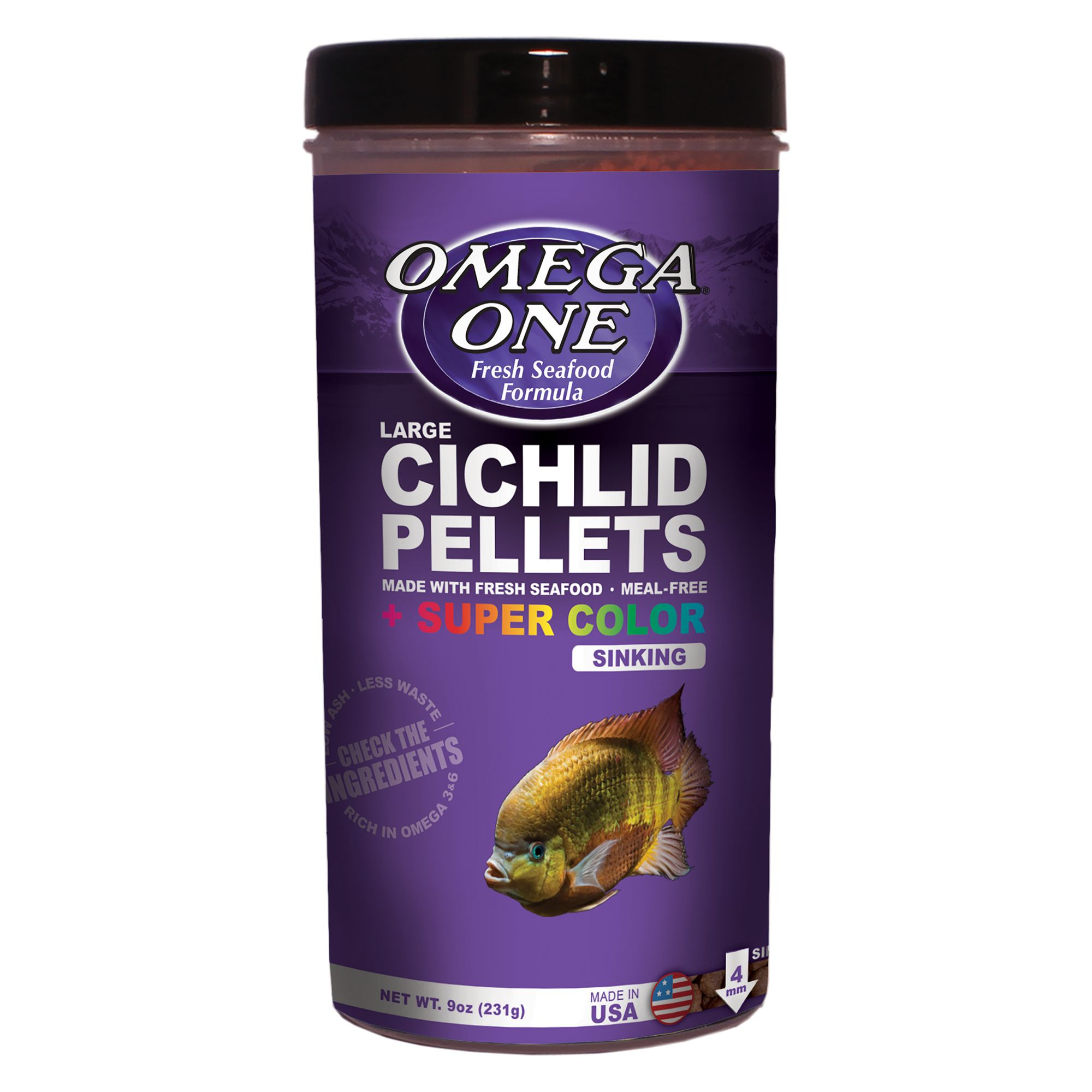 Omega One Cichilid Super Color Pellets Fish Food Size 9 Oz Omega One