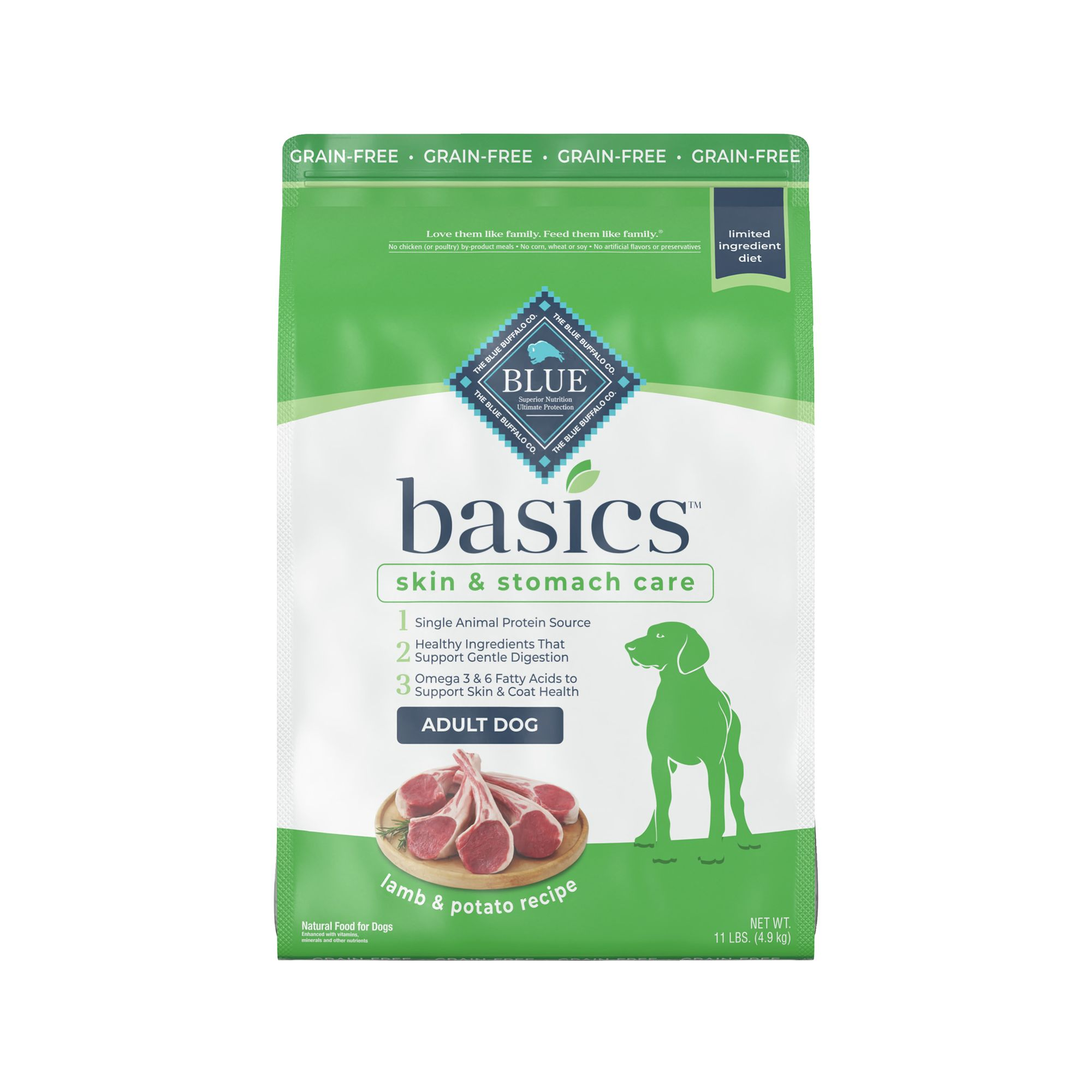 Blue Basics, Limited Ingredient Grain Free Adult Dog Food si