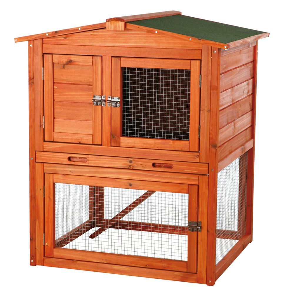 Trixie Pet Products Peaked Roof Rabbit Hutch, Glazed Pine