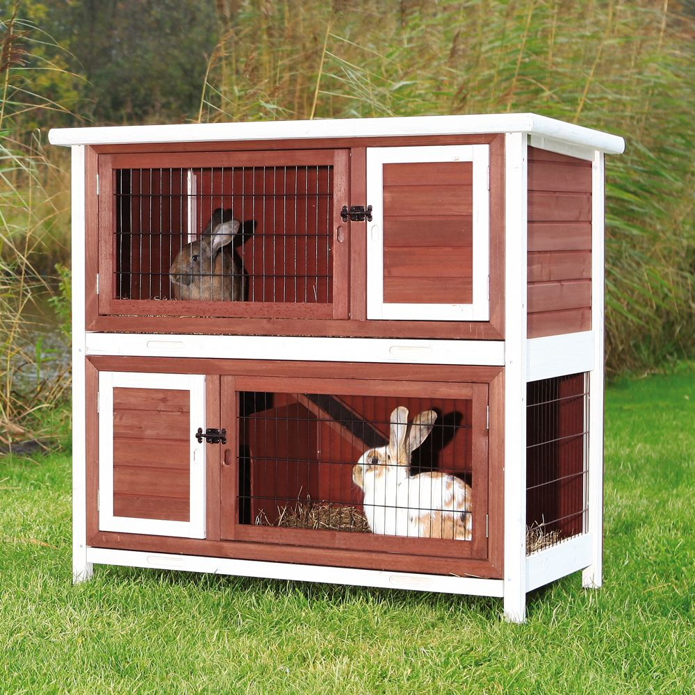 Trixie 2 Story Rabbit Hutch Brown White