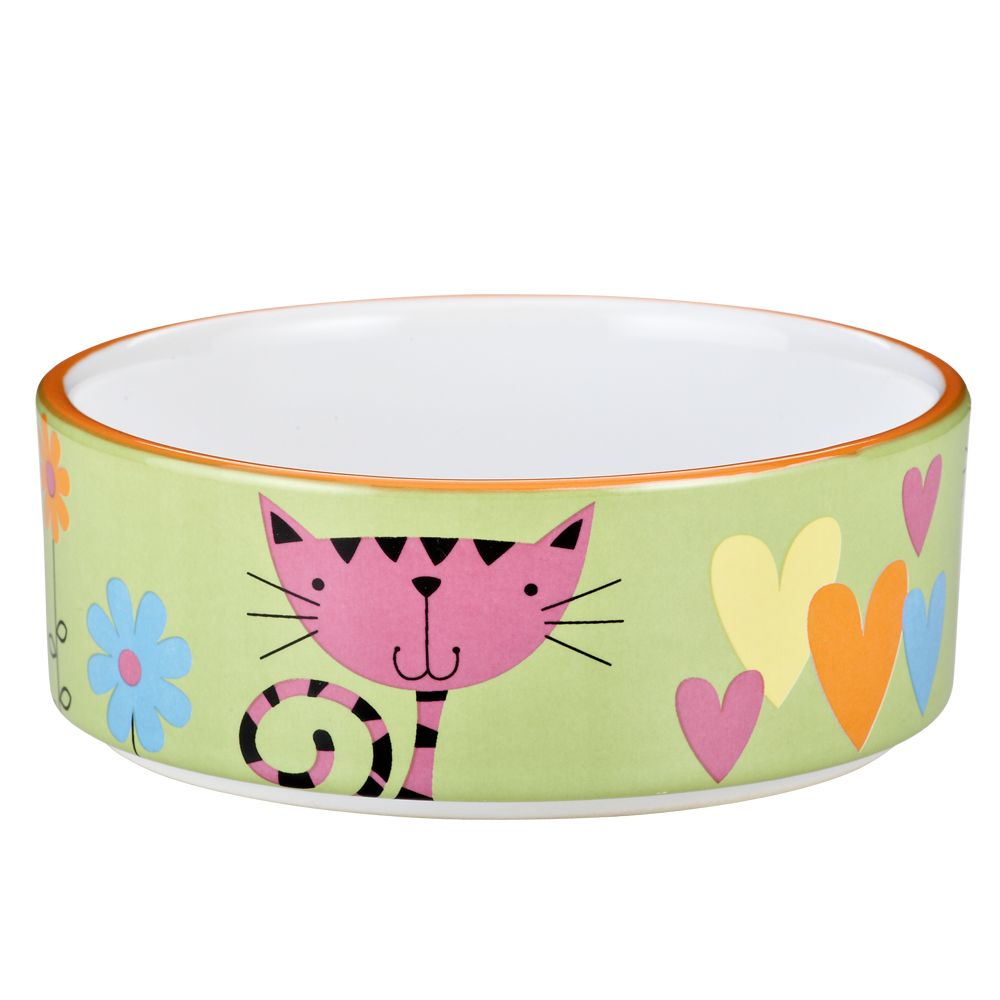Whisker City Heart And Kitty Cat Bowl Size 10 Fl Oz Green