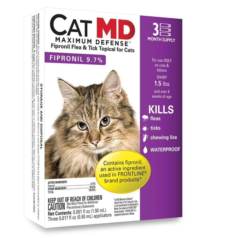 Cat Md Maximum Defense Over 1.5 Lb Cat Flea And Tick Treatment Size 3 Count
