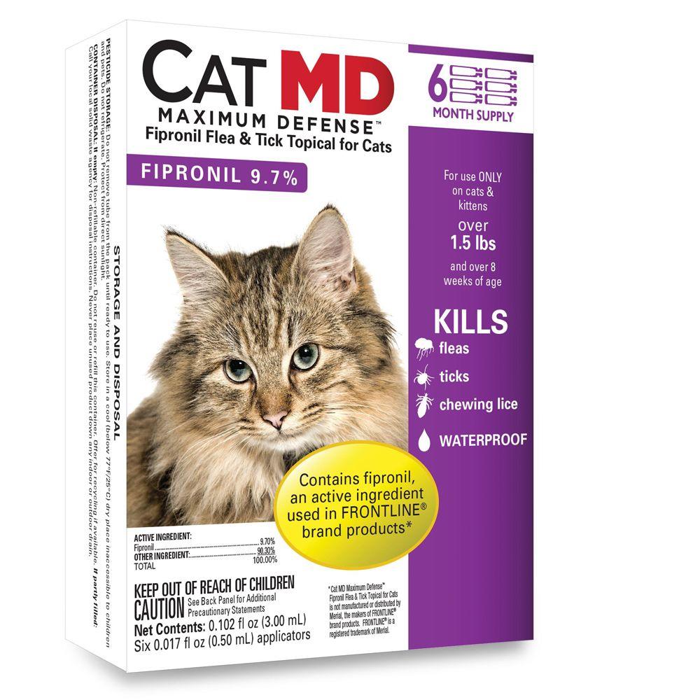 Cat Md Maximum Defense Over 1.5 Lb Cat Flea And Tick Treatment Size 6 Count