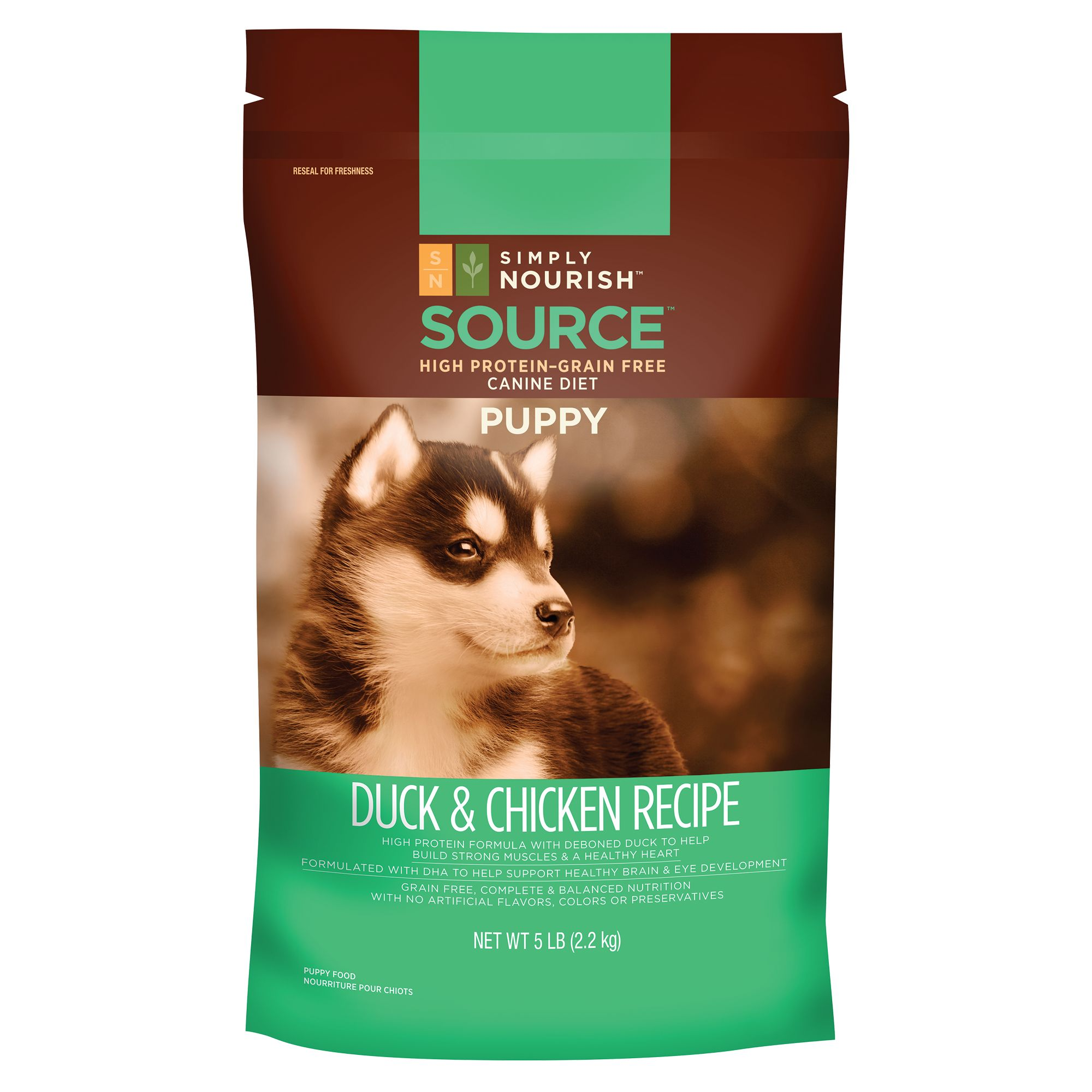 Simply Nourish Source Puppy Food - Grain Free, High Protein, Duck and Chicken size: 5 Lb 5211575