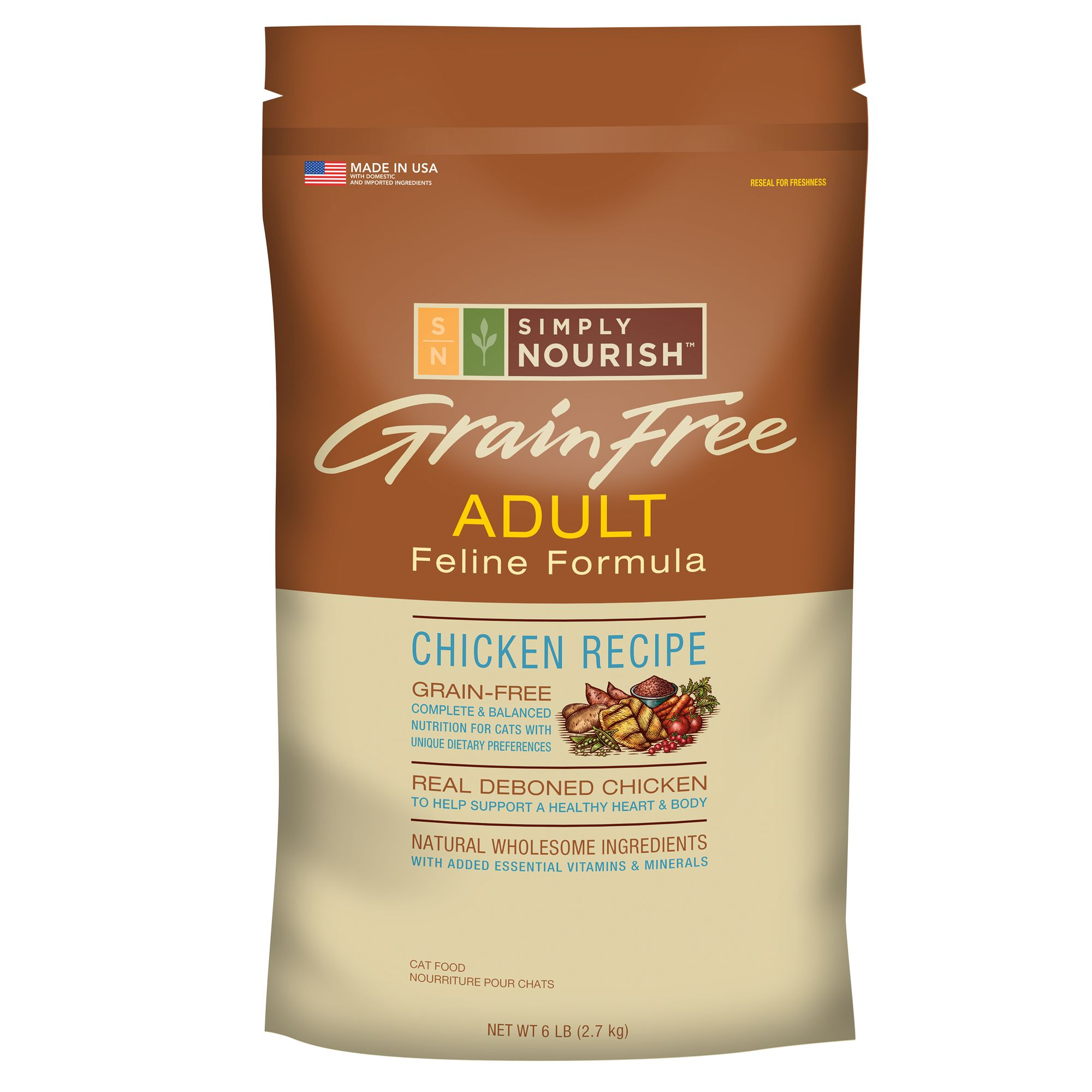Simply Nourish Grain Free Adult Cat Food Chicken Size 6 Lb