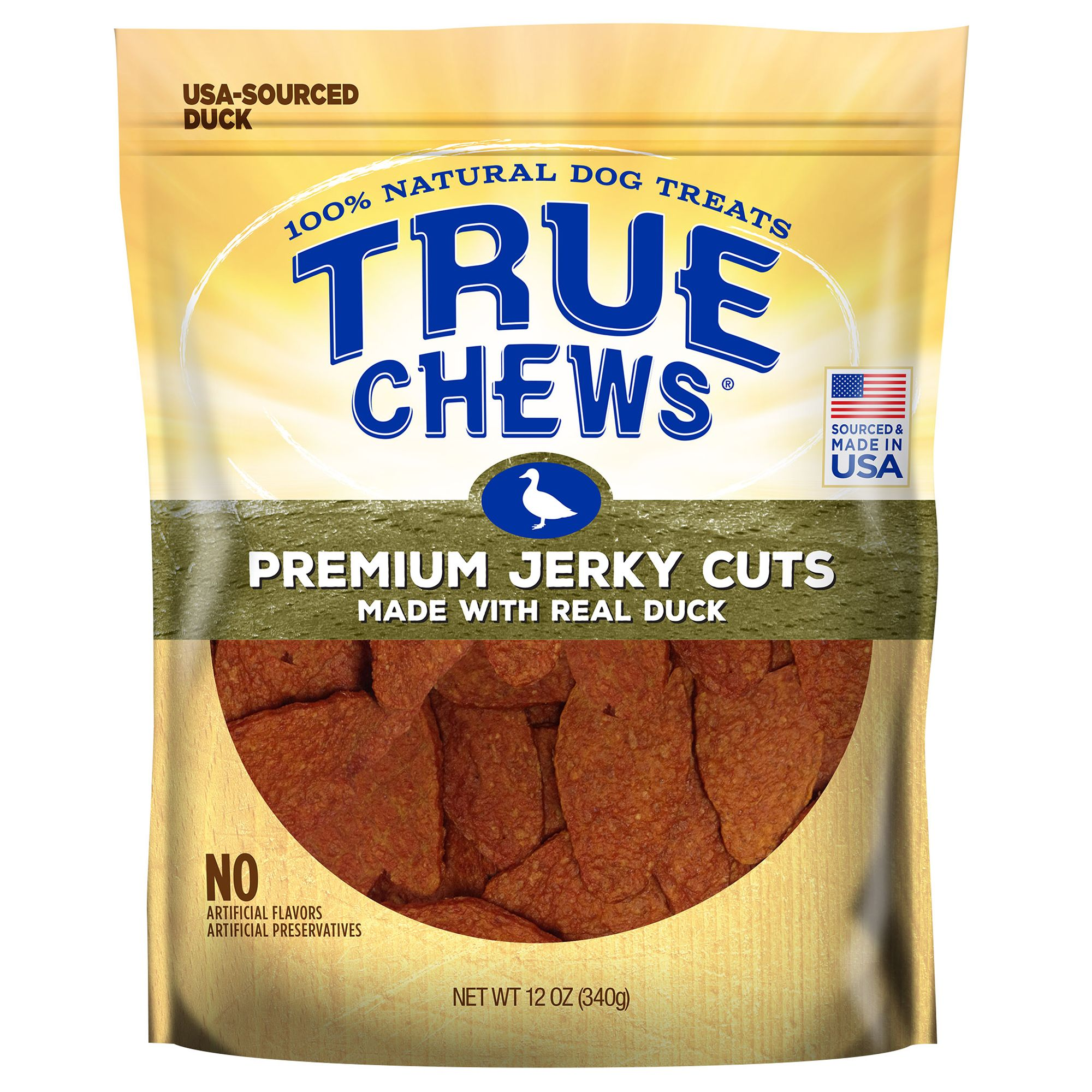 True Chews Premium Jerky Cuts Dog Treat Natural Duck Size 12 Oz