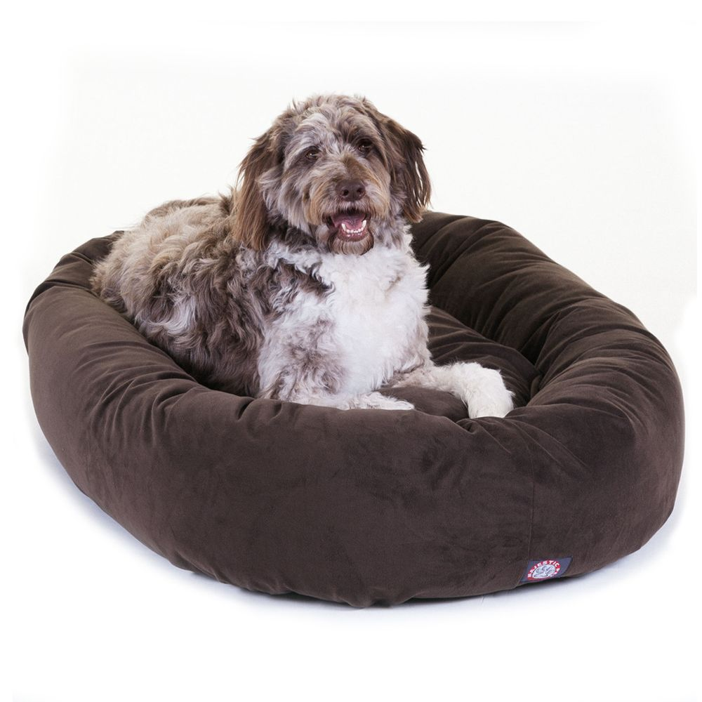 "Majestic Pet Products Bagel Dog Bed size: 52""L x 35""W x 11""H, Brown"