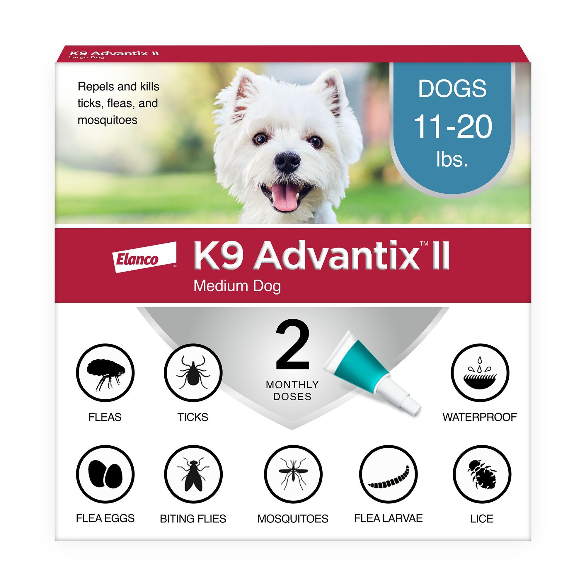 K9 Advantix Ii 11 20 Lbs Dog Flea And Tick Treatment Size 2 Count