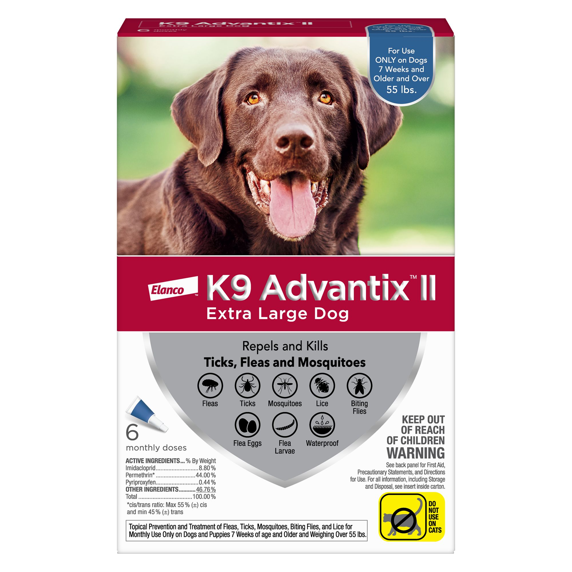 K9 Advantix Ii Over 55 Lbs Dog Flea And Tick Treatment Size 6 Count