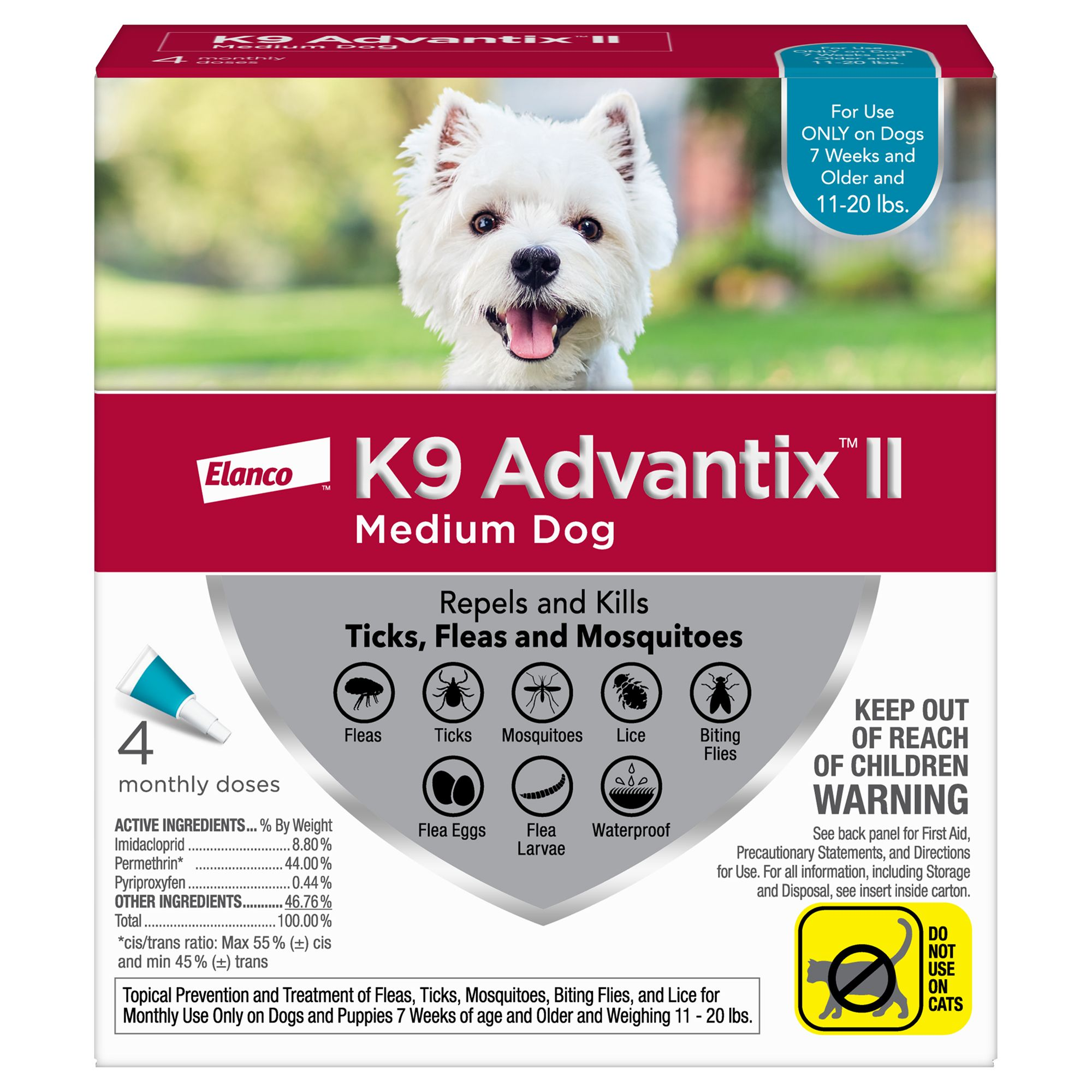 K9 Advantix Ii 11 20 Lbs Dog Flea And Tick Treatment Size 4 Count