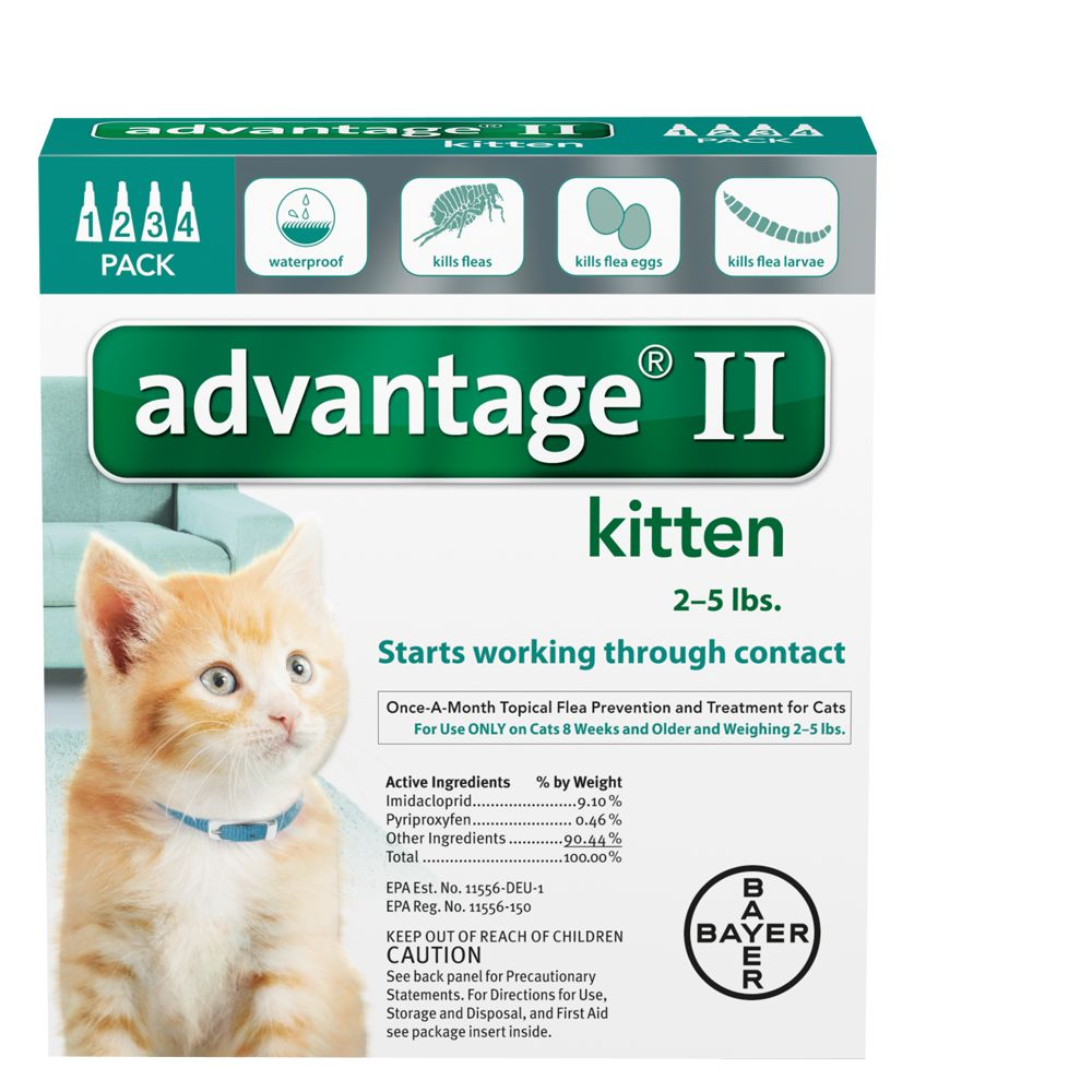 Advantage Ii 2 5 Lbs Kitten Flea Prevention And Treatment Size 4 Count