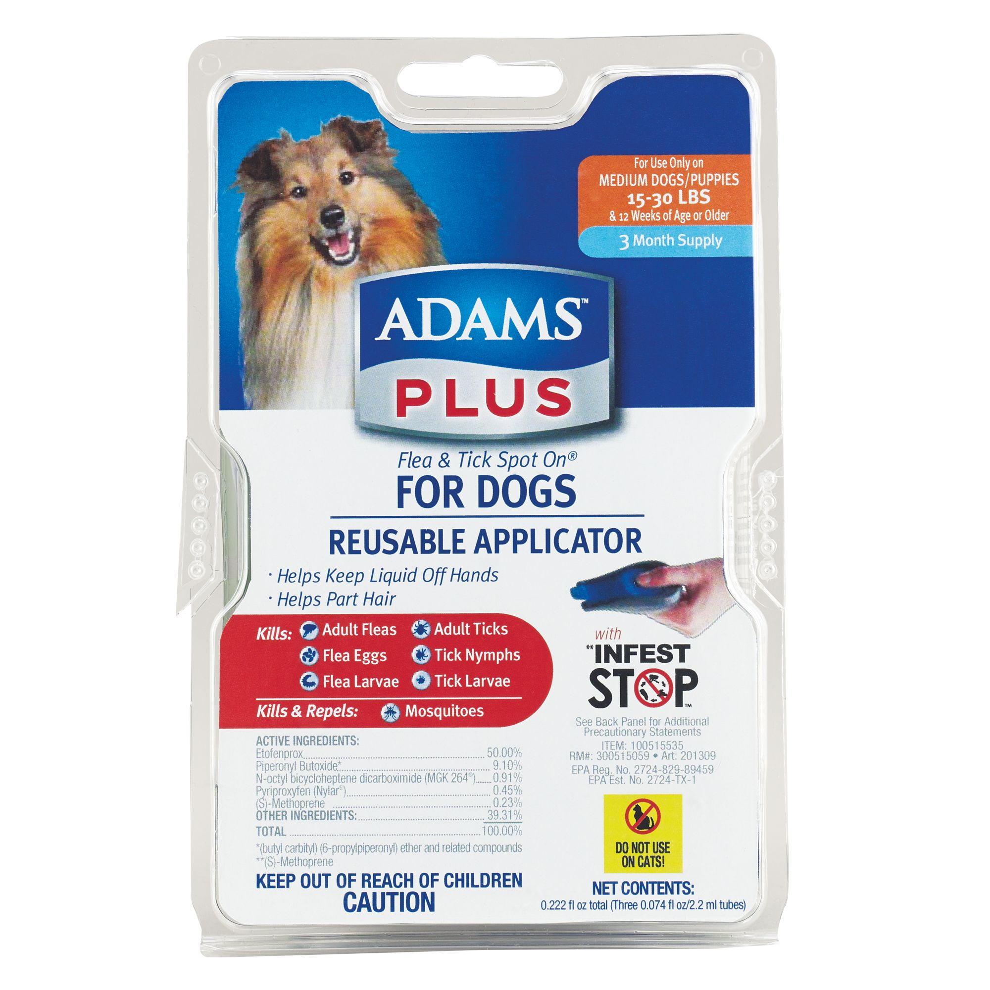 Adams Plus 15 30lb Dog Flea And Tick Protection Size 15 30 Lbs