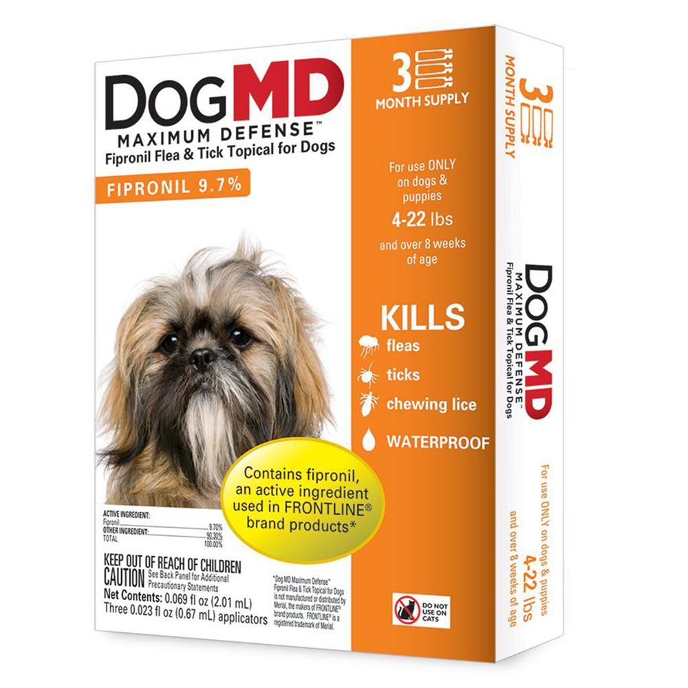Dog Md Maximum Defense 4 22 Lb Dog Flea And Tick Treatment Size 3 Count
