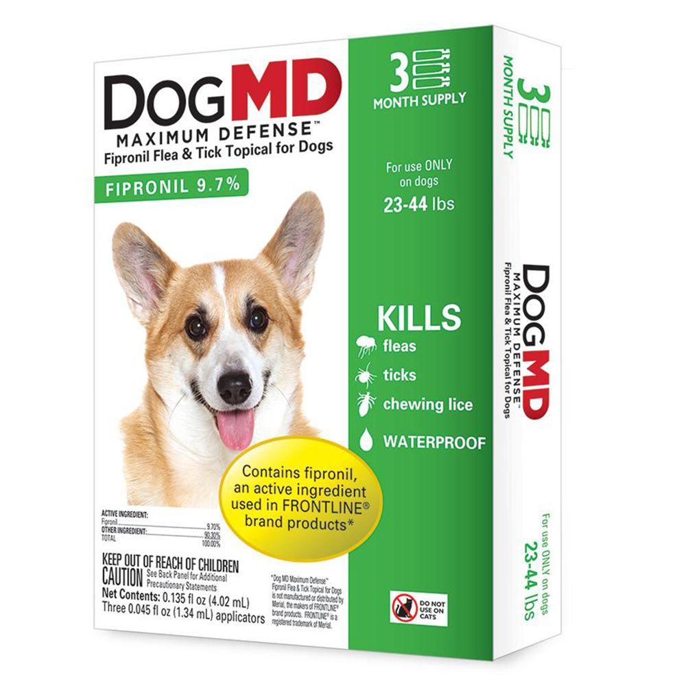 Dog Md Maximum Defense 23 44 Lb Dog Flea And Tick Treatment Size 3 Count