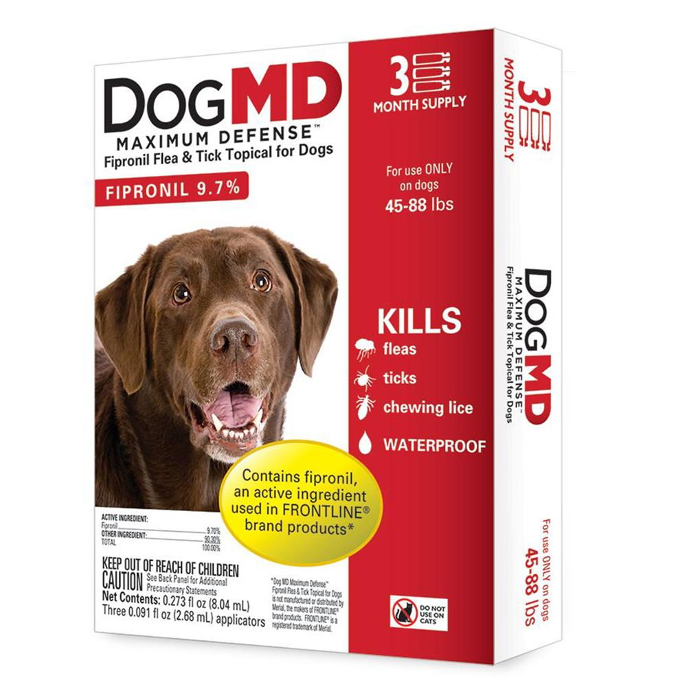 Dog Md Maximum Defense 45 88 Lb Dog Flea And Tick Treatment Size 3 Count