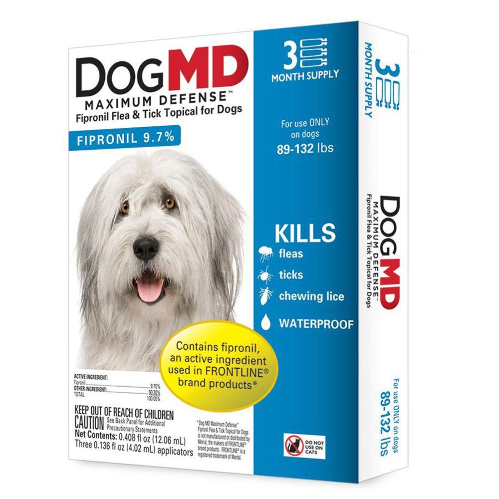 Dog Md Maximum Defense 89 132 Lb Dog Flea And Tick Treatment Size 3 Count