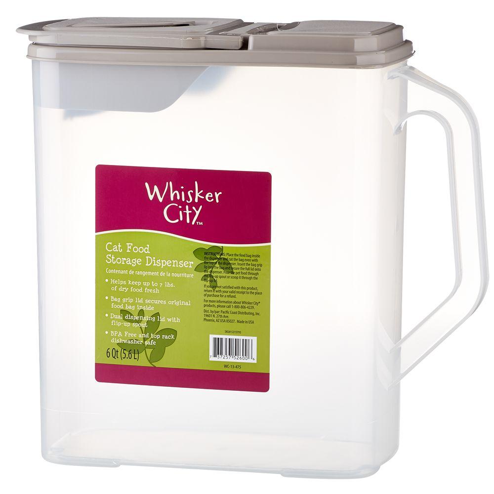 Whisker City Cat Food Storage Dispenser Clear