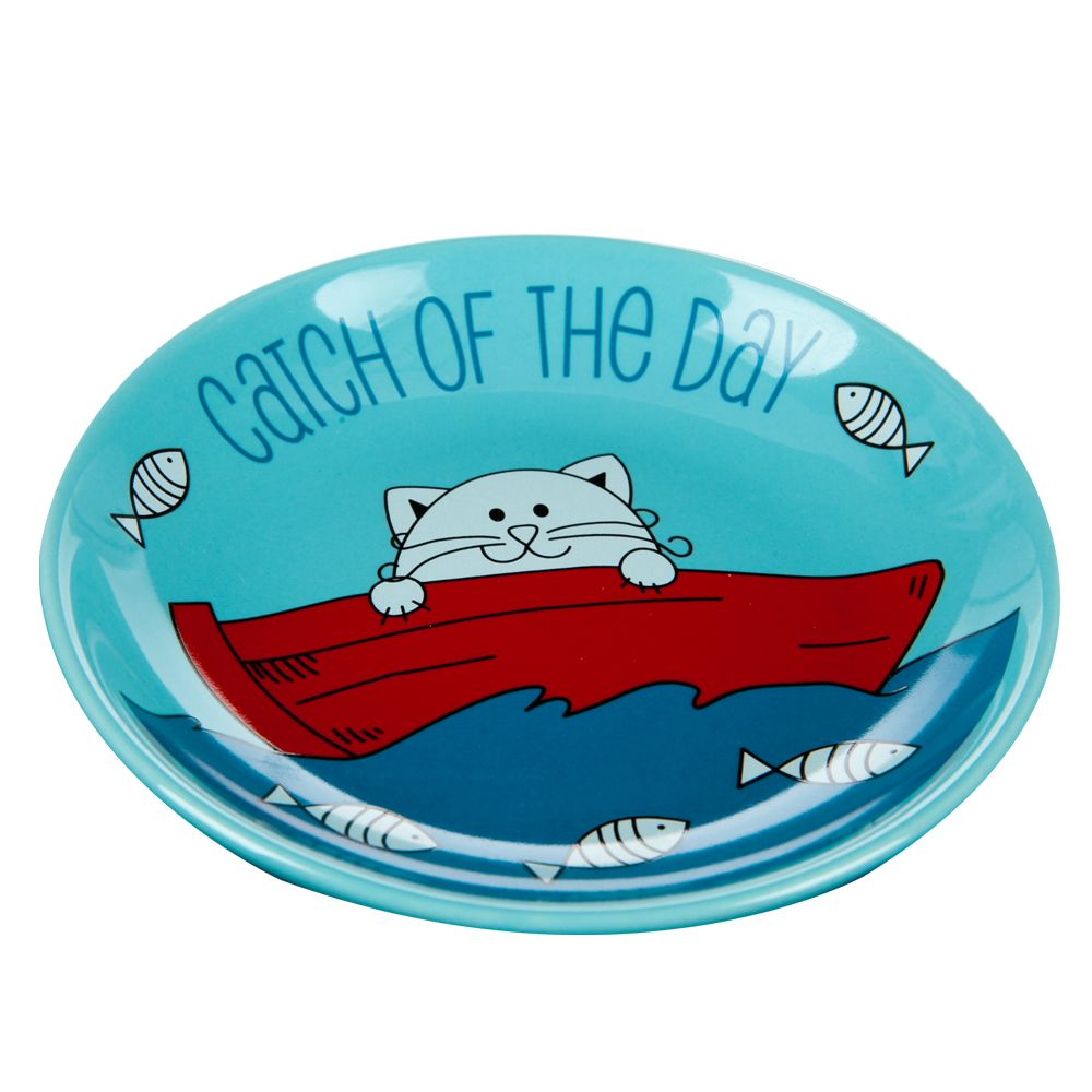 Whisker City Catch Of The Day Cat Saucer Size 2.5 Fl Oz Red Blue