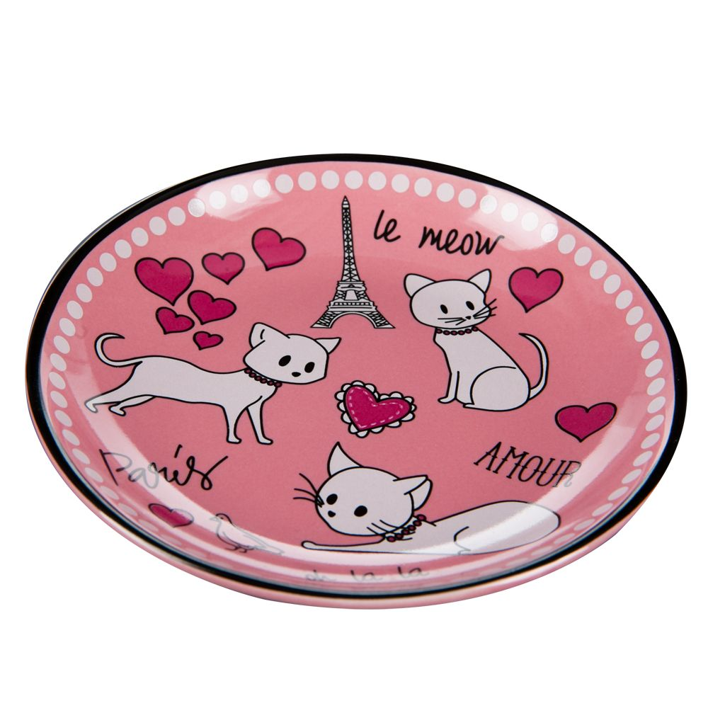 Whisker City Paris Cat Saucer Size 2.5 Fl Oz Pink