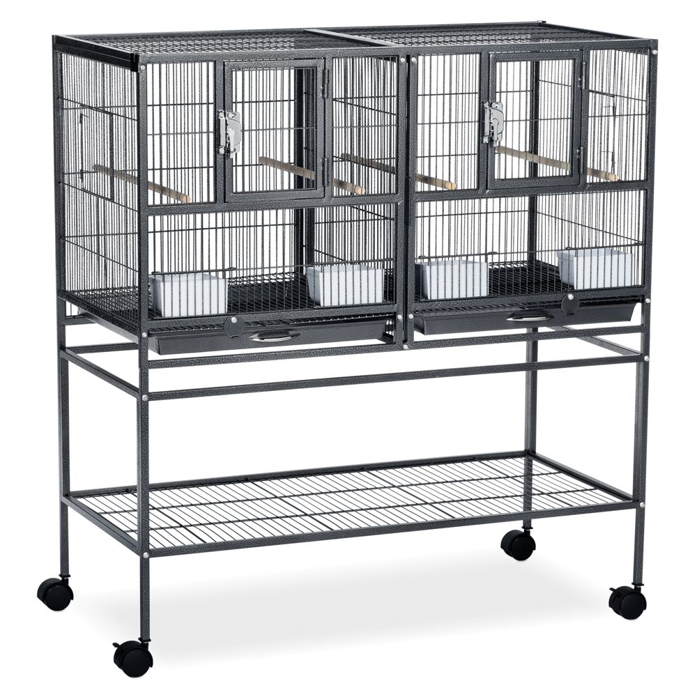 "Prevue Pet Products Hampton Deluxe Breeder Bird Cage System size: 37.5""L x 18""W x 40.25""H, Black 5215919"