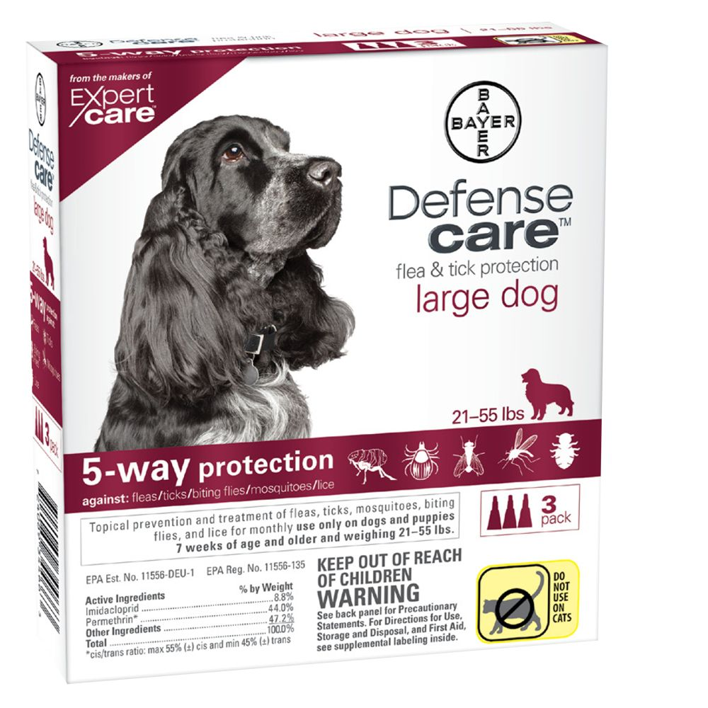 Bayer Defense Care 21 55 Lb Dog Flea And Tick Protection Size 3 Count