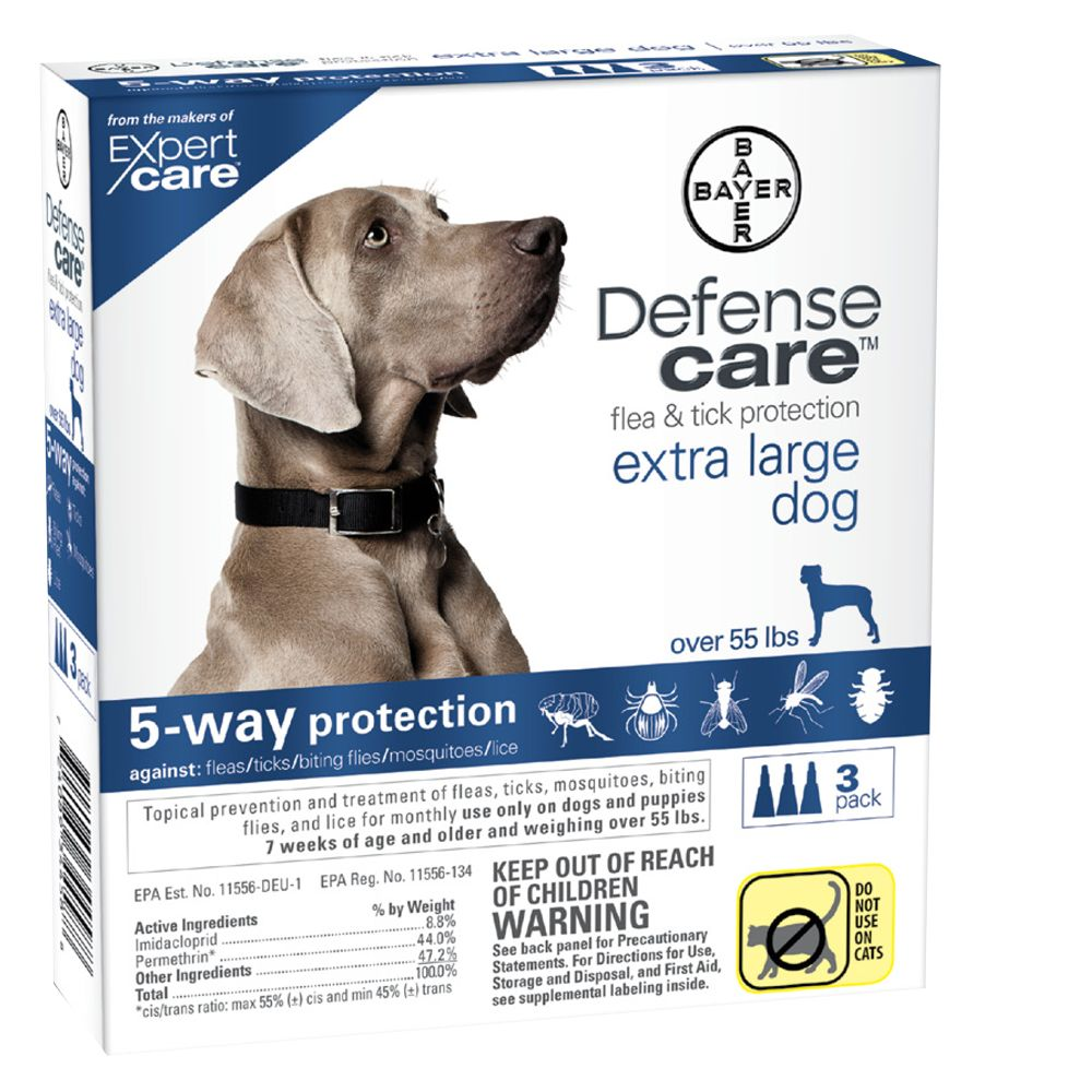 Bayer Defense Care Over 55 Lb Dog Flea And Tick Protection Size 3 Count