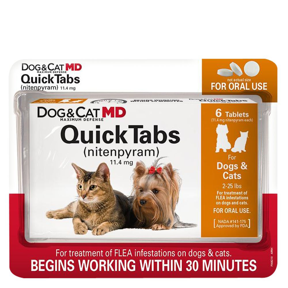 Dog And Cat Md Maximum Defense Quicktabs 2 25 Lb Flea Treatment Size 6 Count Dog Md Dogs Puppies Cats And Kittens Over 4 Weeks Of Age And Weighing 2 25 Pounds.