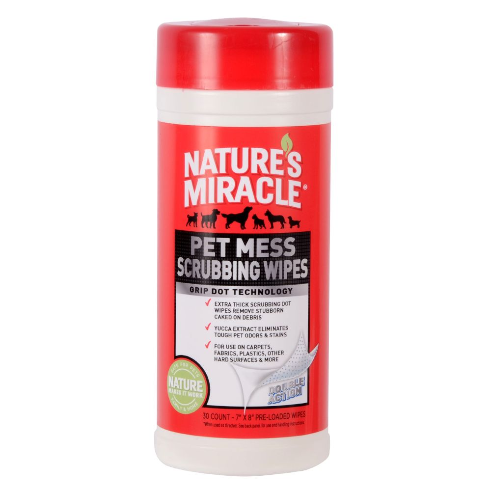 Nature's Miracle, Pet Mess Scrubbing Wipes size: 30 Count 5218866