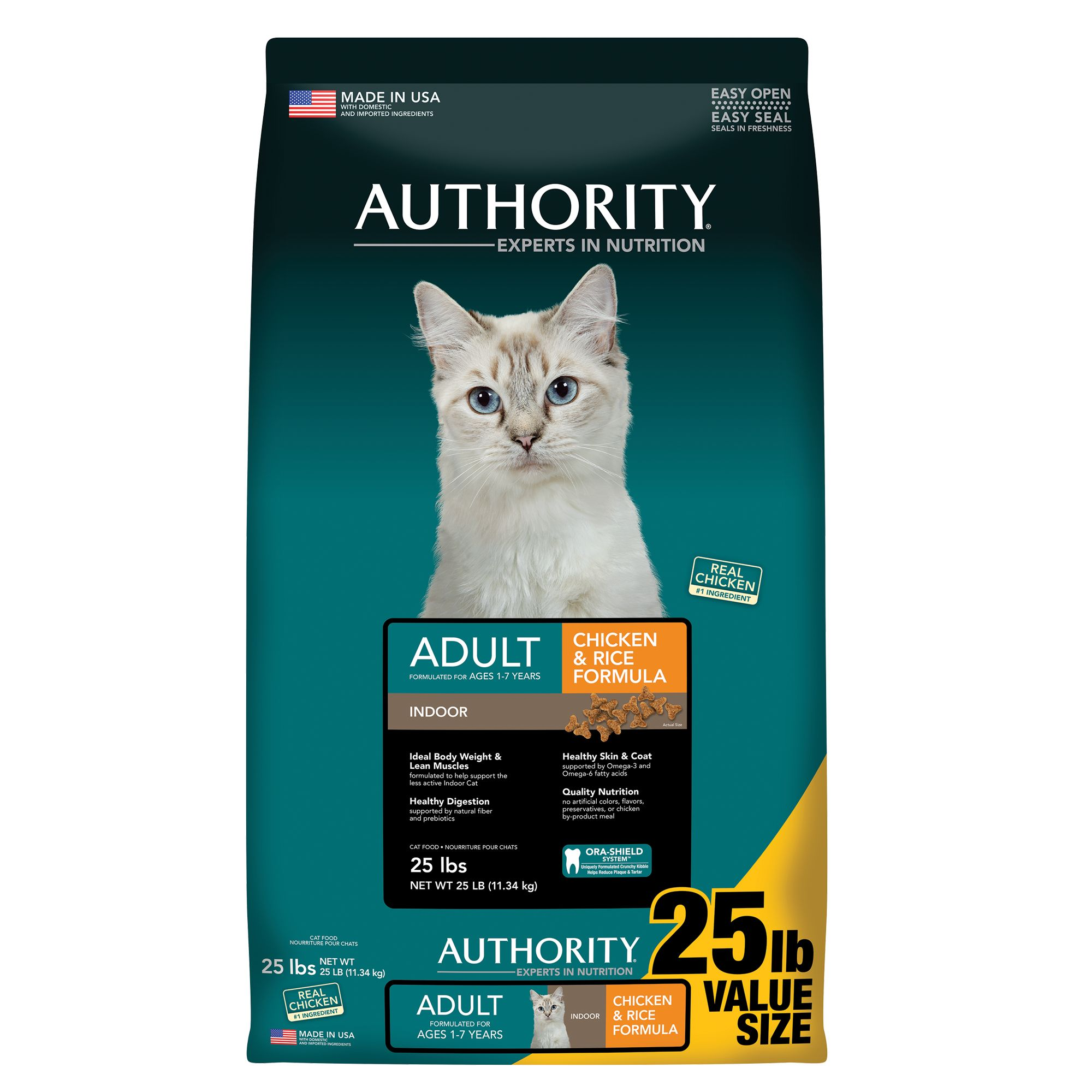 Authority® Indoor Adult Cat Food - Chicken and Rice size: 25 Lb