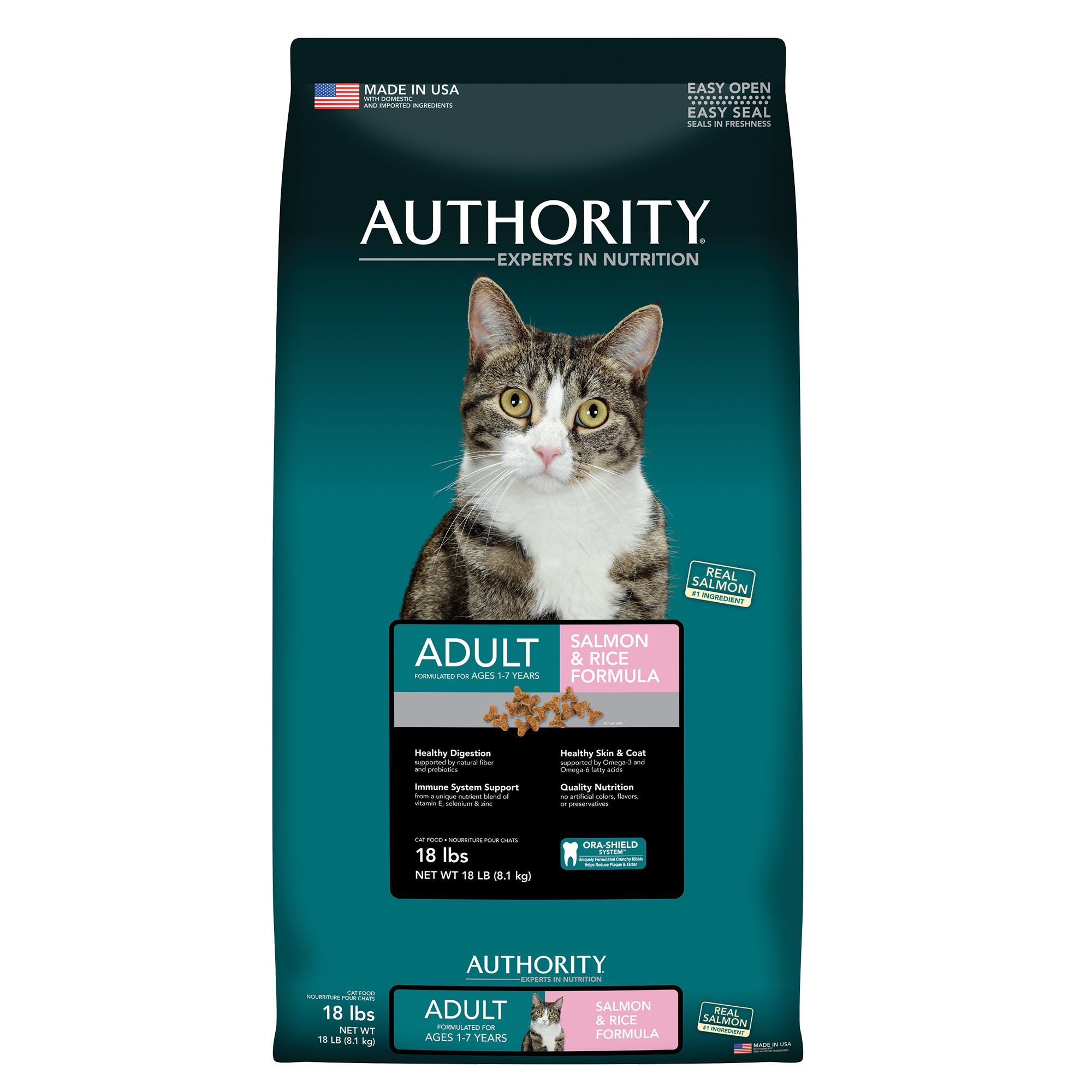 Authority Adult Cat Food Salmon And Rice Size 18 Lb