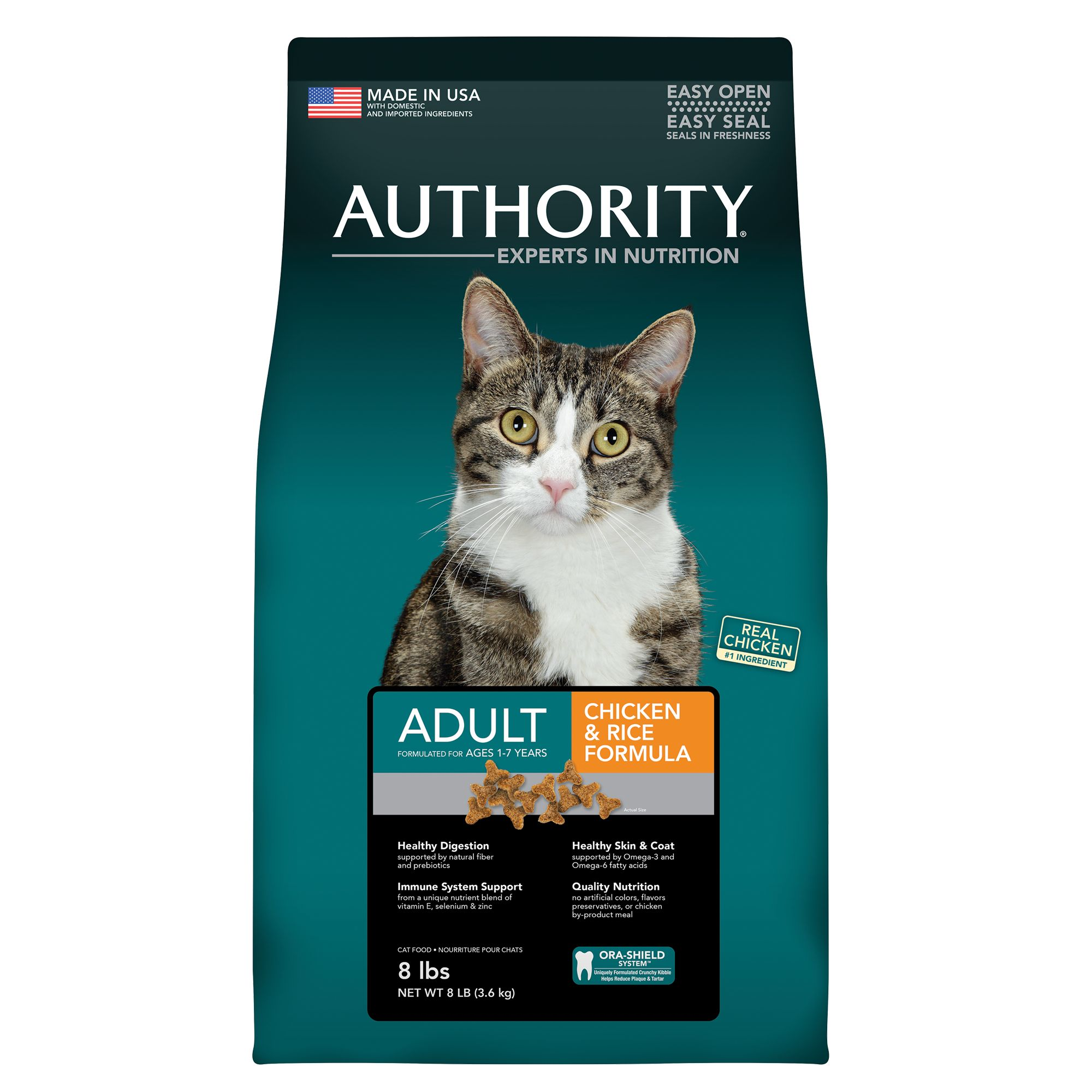 Authority Adult Cat Food Chicken And Rice Size 8 Lb