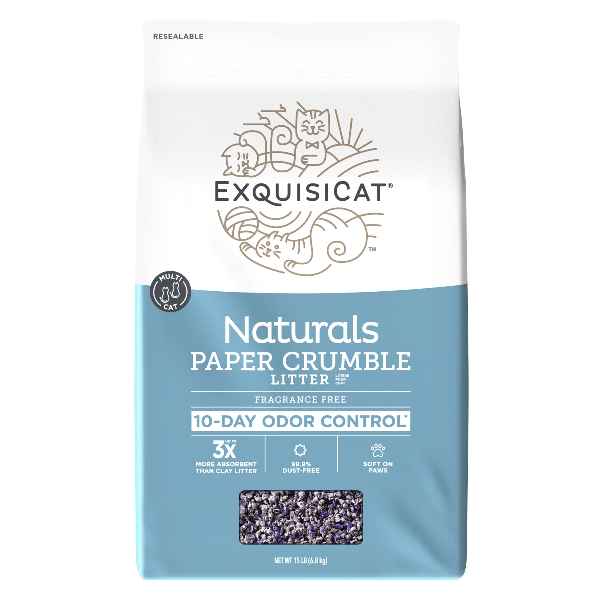 Exquisicat Naturals Paper Multi Cat Litter Size 15 Lb