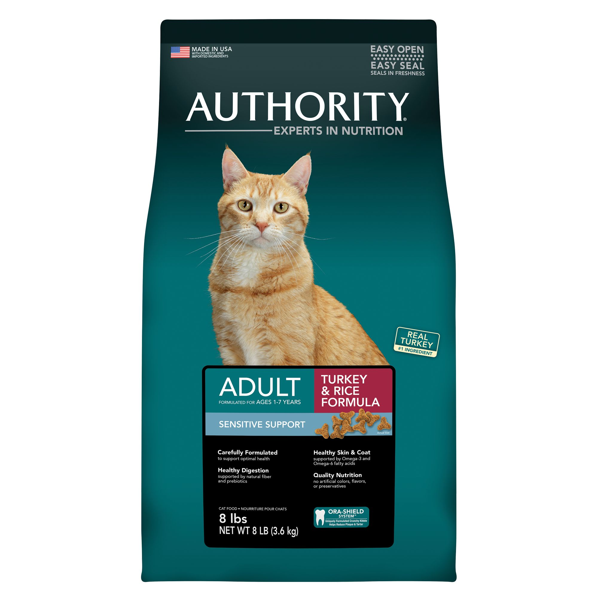 Authority® Sensitive Support Adult Cat Food - Turkey and Rice size: 8 Lb