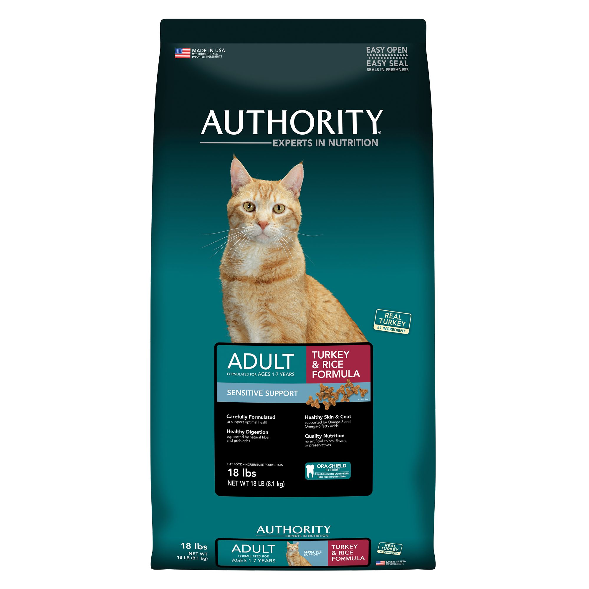 Authority® Sensitive Support Adult Cat Food - Turkey and Rice size: 18 Lb