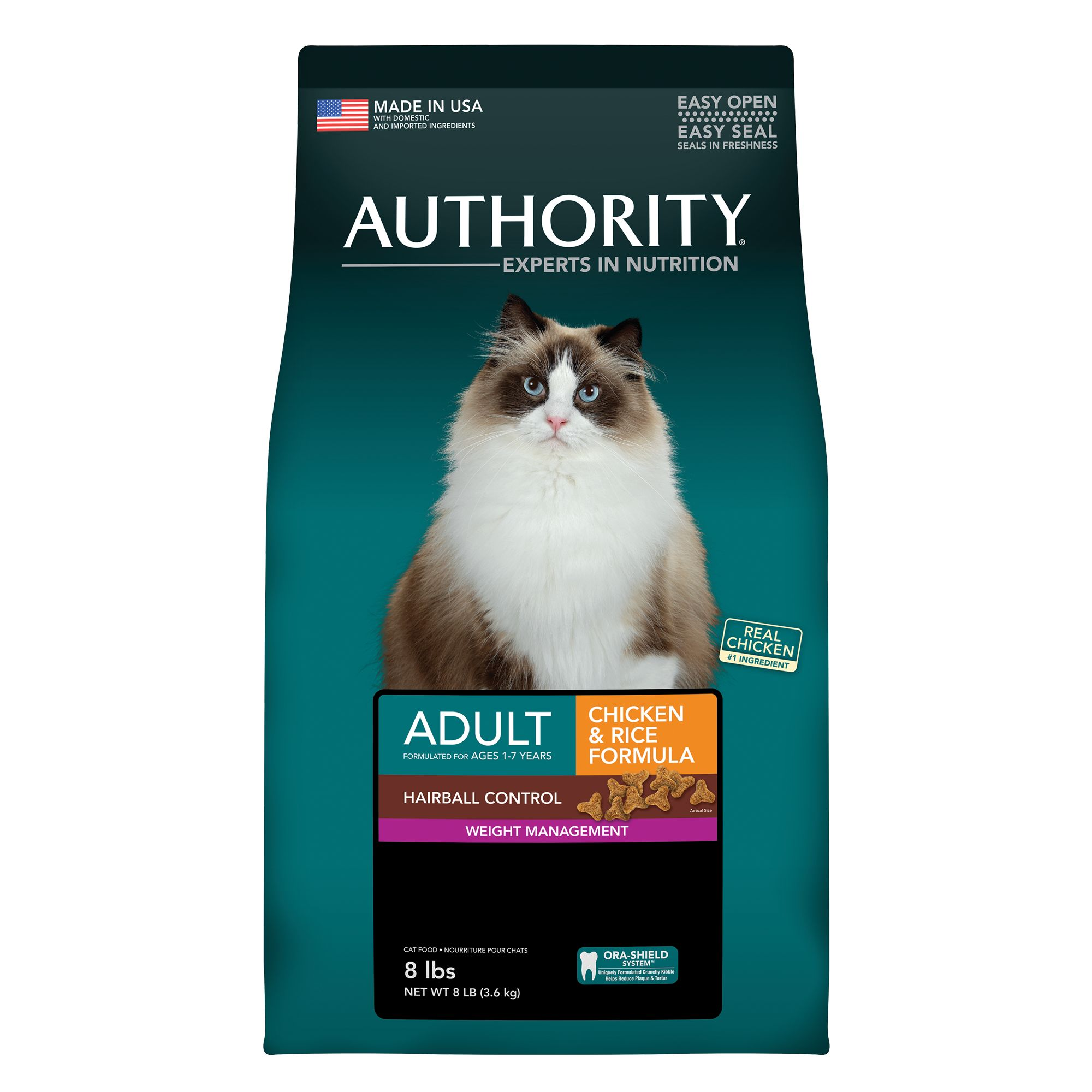Authority® Hairball Control and Weight Management Adult Cat Food size: 8 Lb