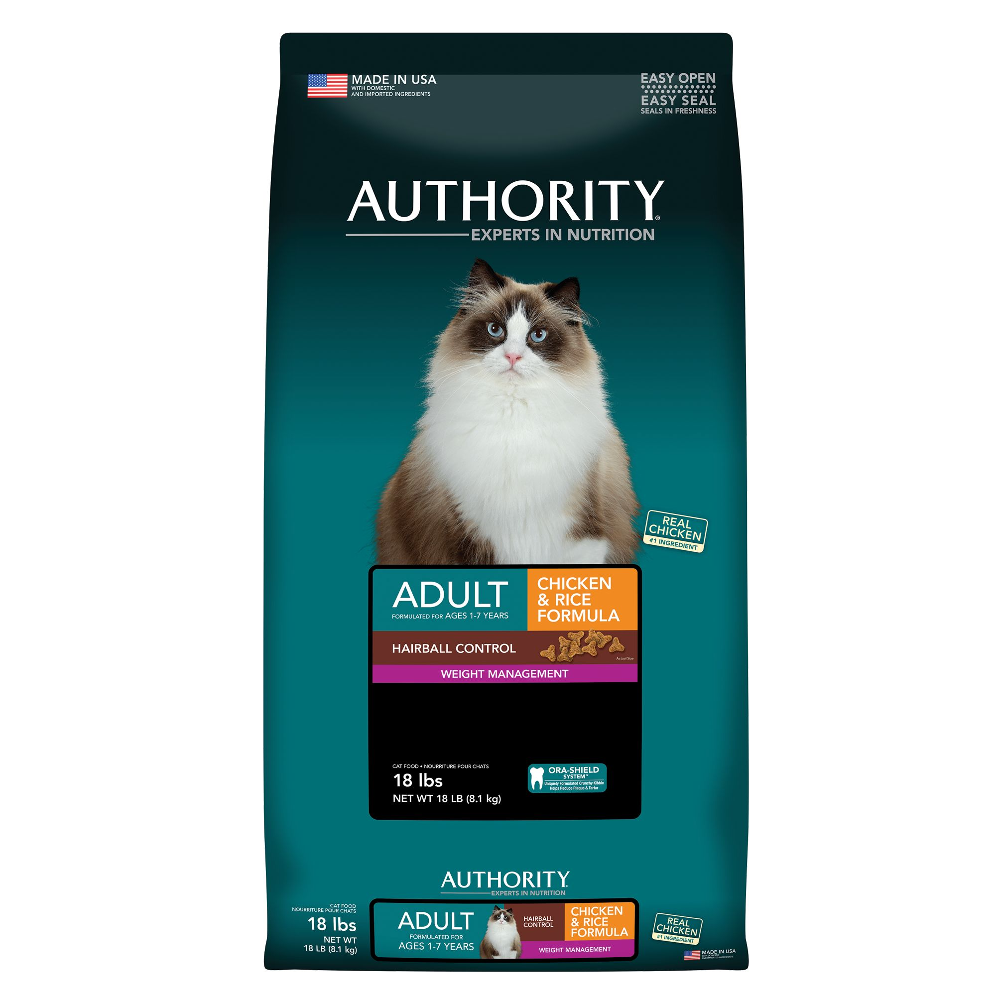Authority Hairball Control and Weight Management Adult Cat Food size: 18 Lb, Chicken, Kibble 5220333