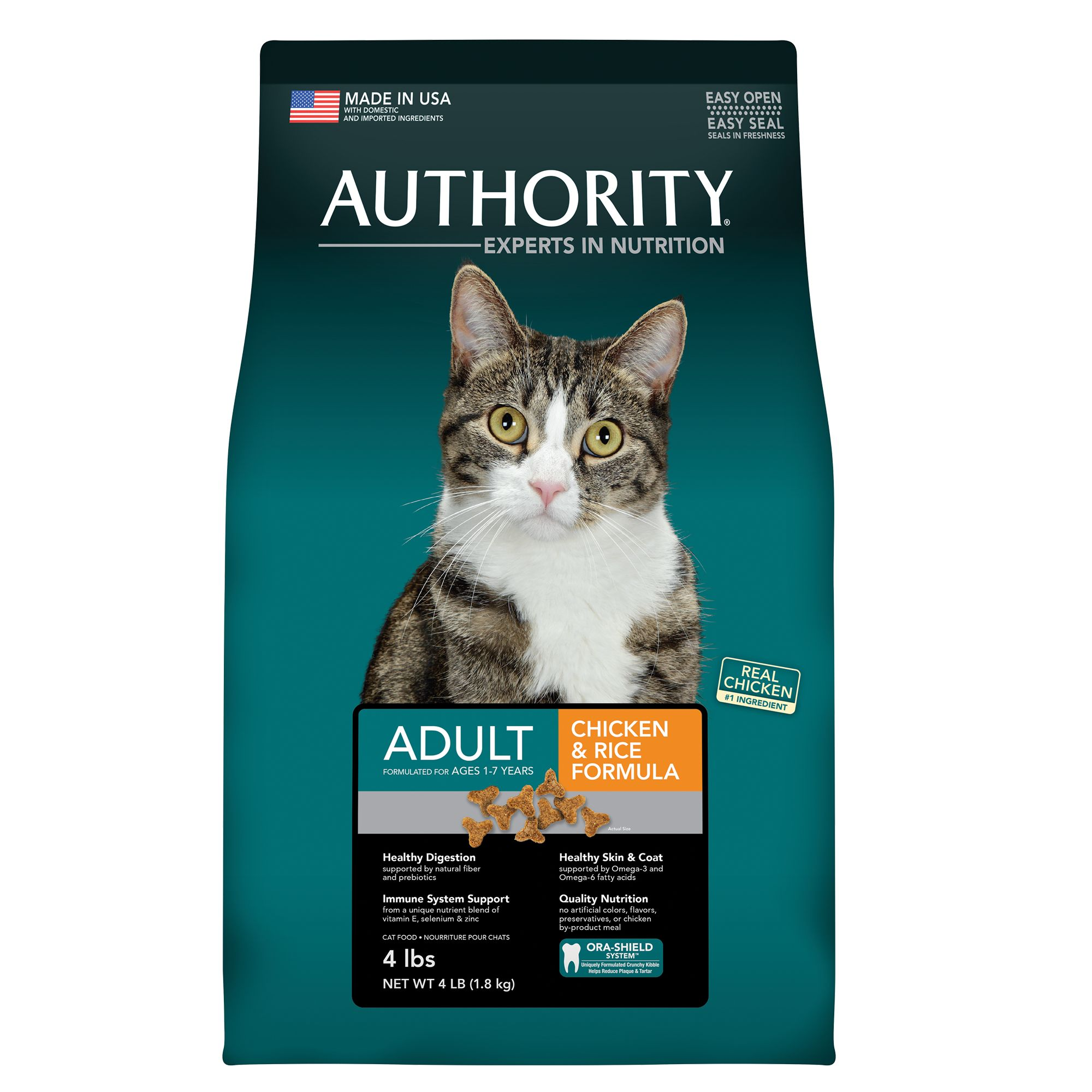 Authority Adult Cat Food Chicken And Rice Size 4 Lb