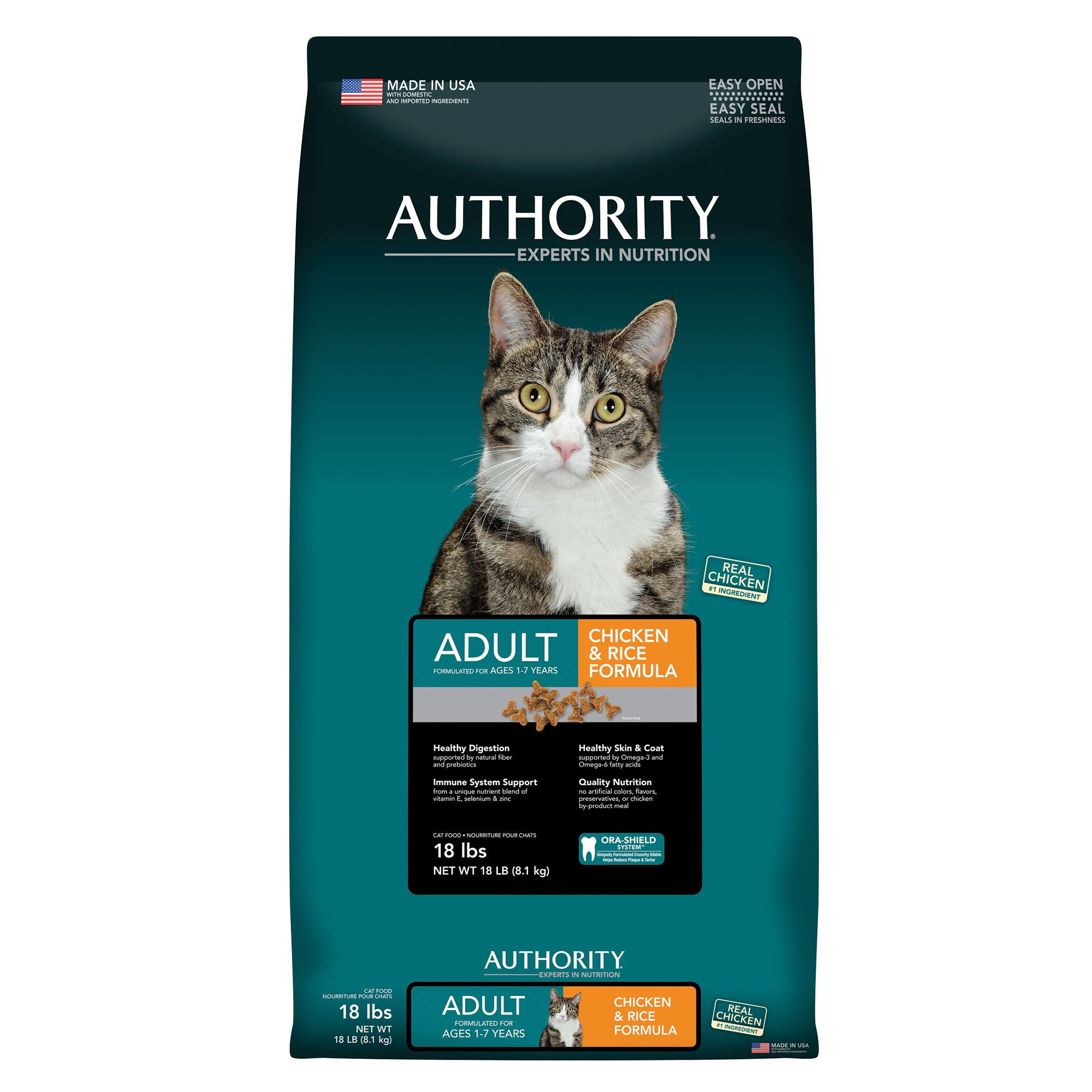 Authority Adult Cat Food Chicken And Rice Size 18 Lb