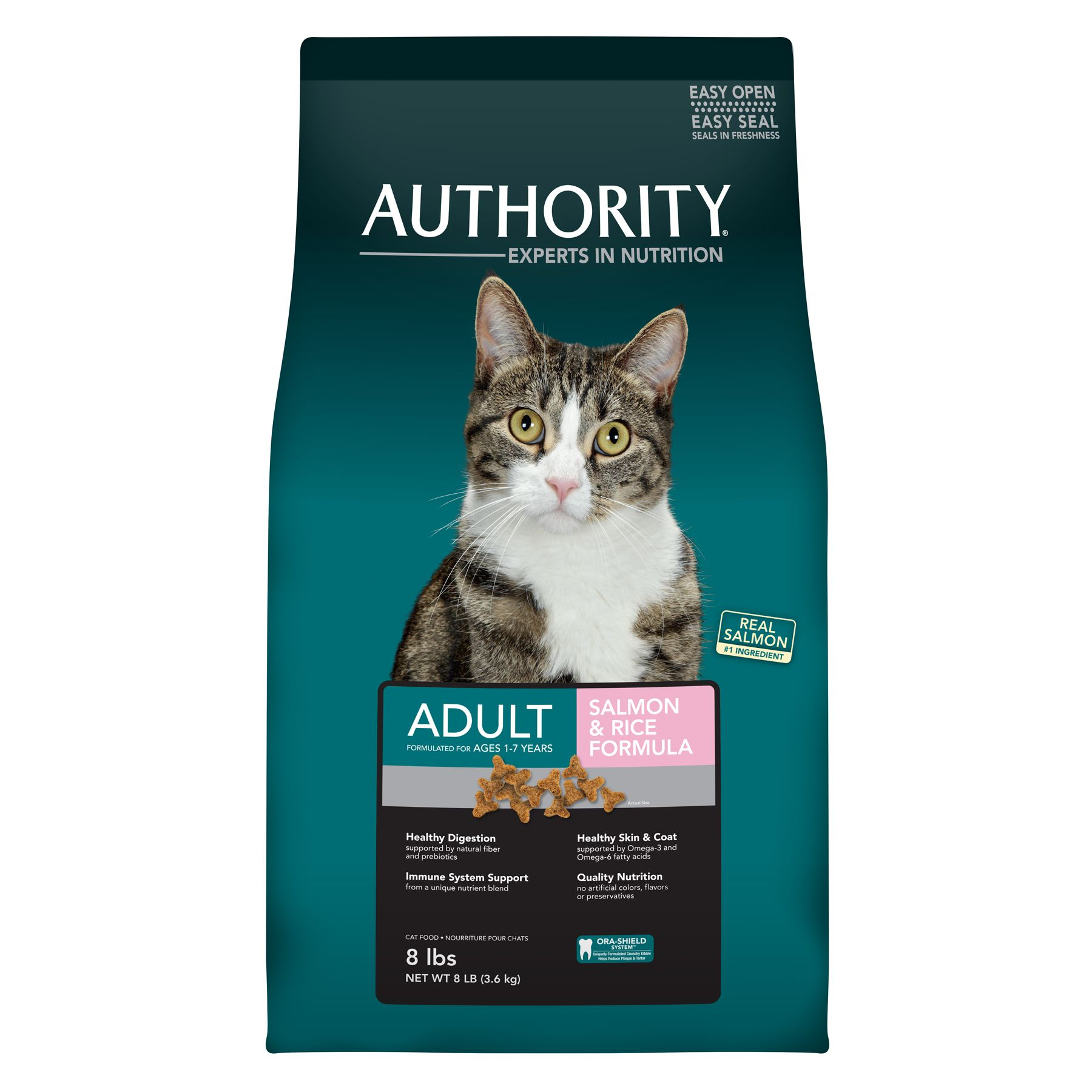 Authority Adult Cat Food Salmon And Rice Size 8 Lb