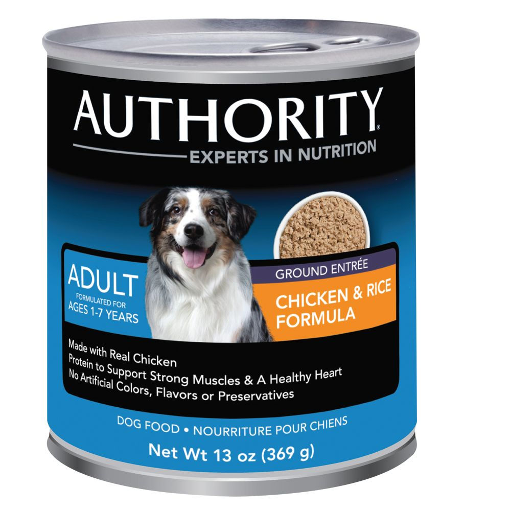 Authority Ground Adult Dog Food size: 13 Oz, Chicken & Rice, Wet Food, Senior, Chicken Broth 5220993