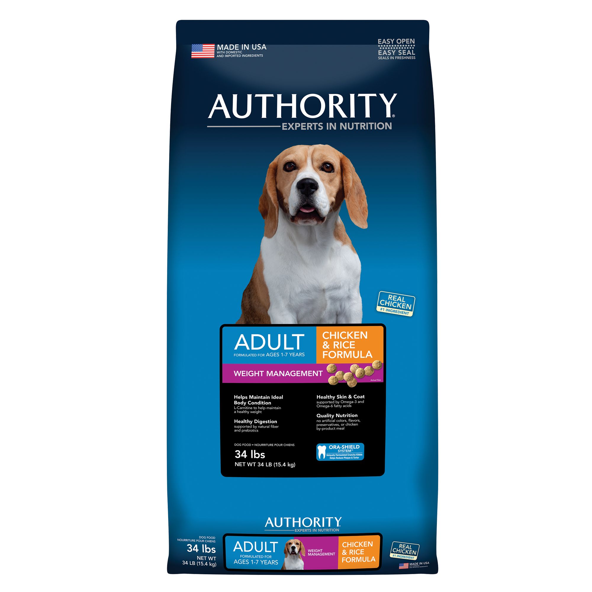 Authority® Weight Management Adult Dog Food size: 34 Lb