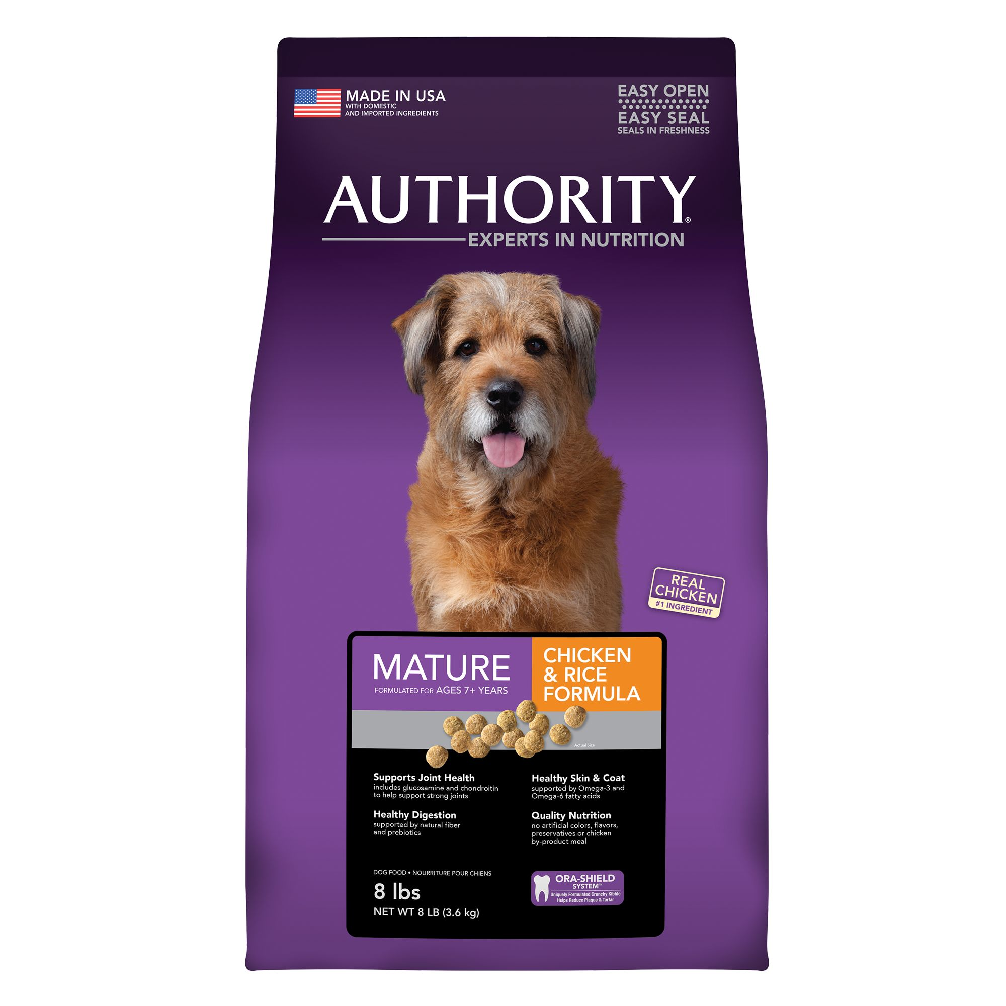 Authority Mature Dog Food - Chicken and Rice size: 8 Lb, Kibble, Senior 5221174