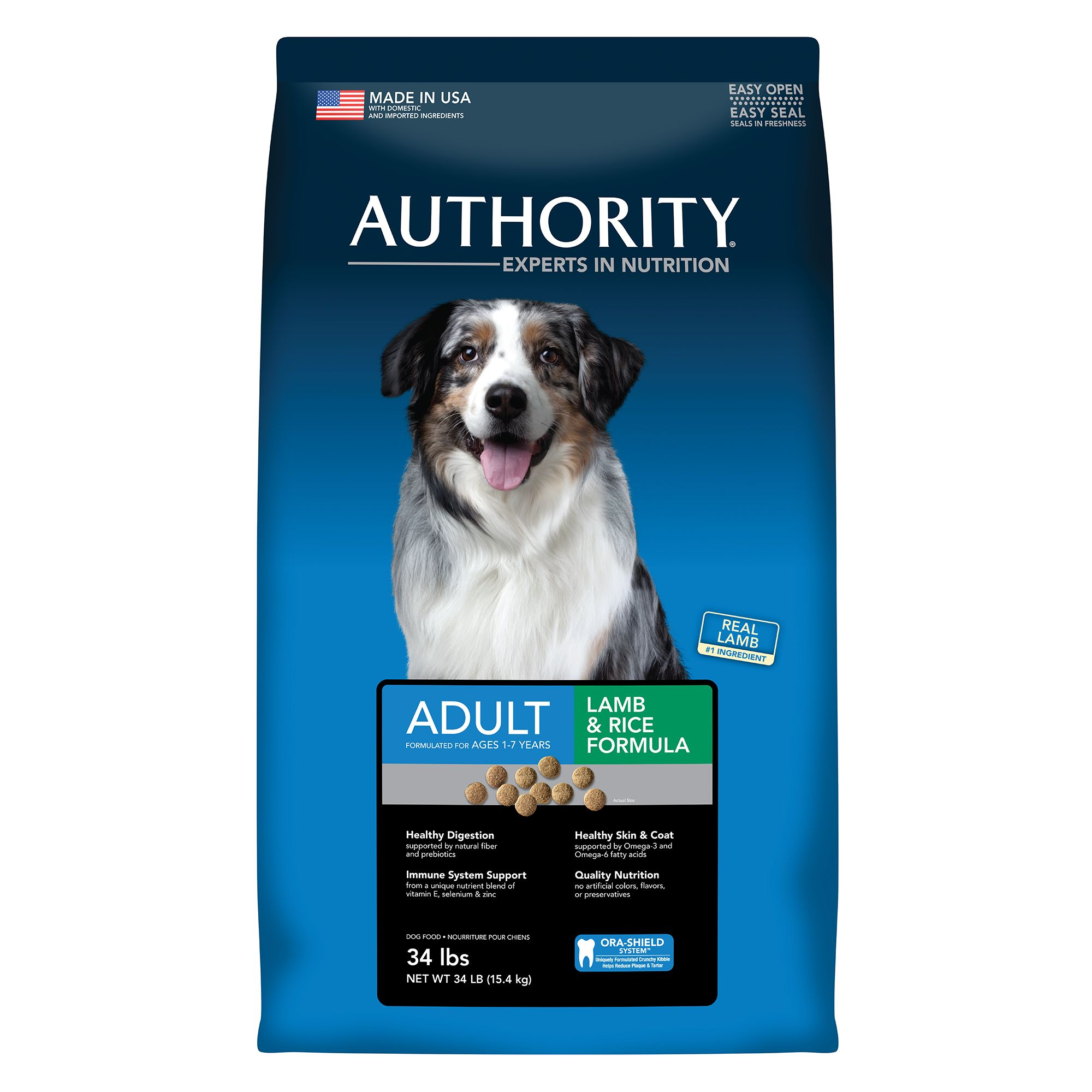 Authority Adult Dog Food Lamb And Rice Size 34 Lb