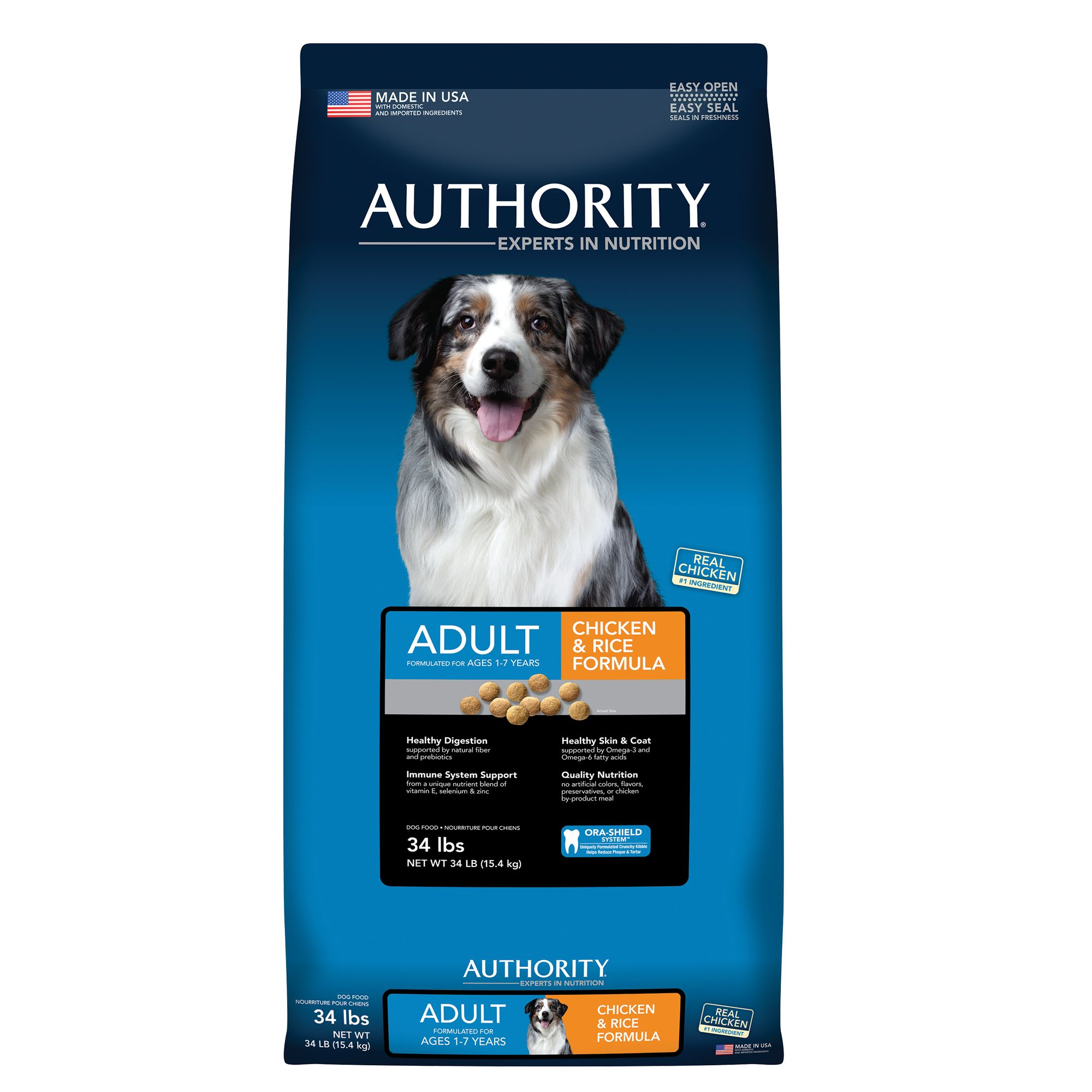 Authority Adult Dog Food - Chicken and Rice size: 34 Lb, Kibble 5221182
