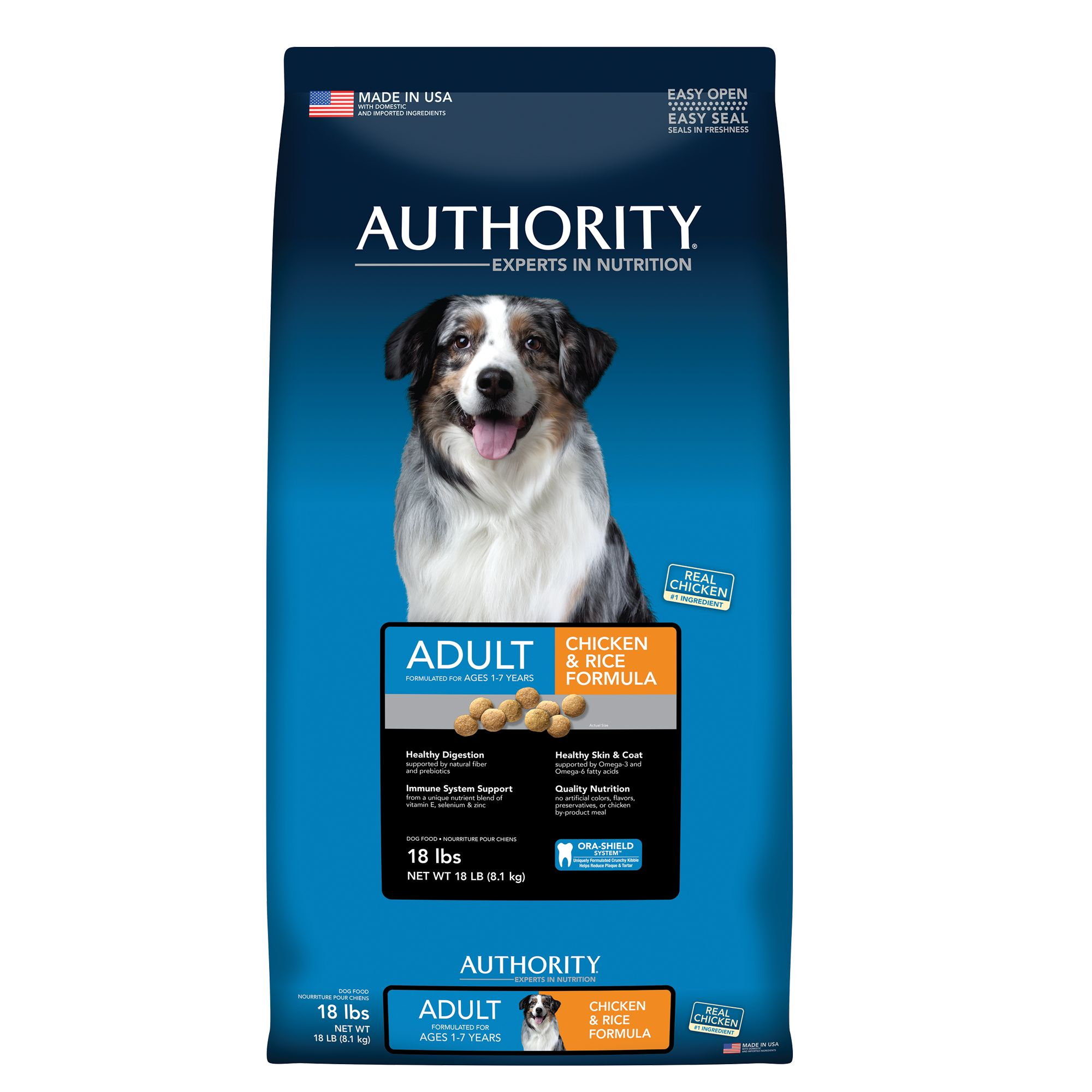 Authority Adult Dog Food Chicken And Rice Size 18 Lb